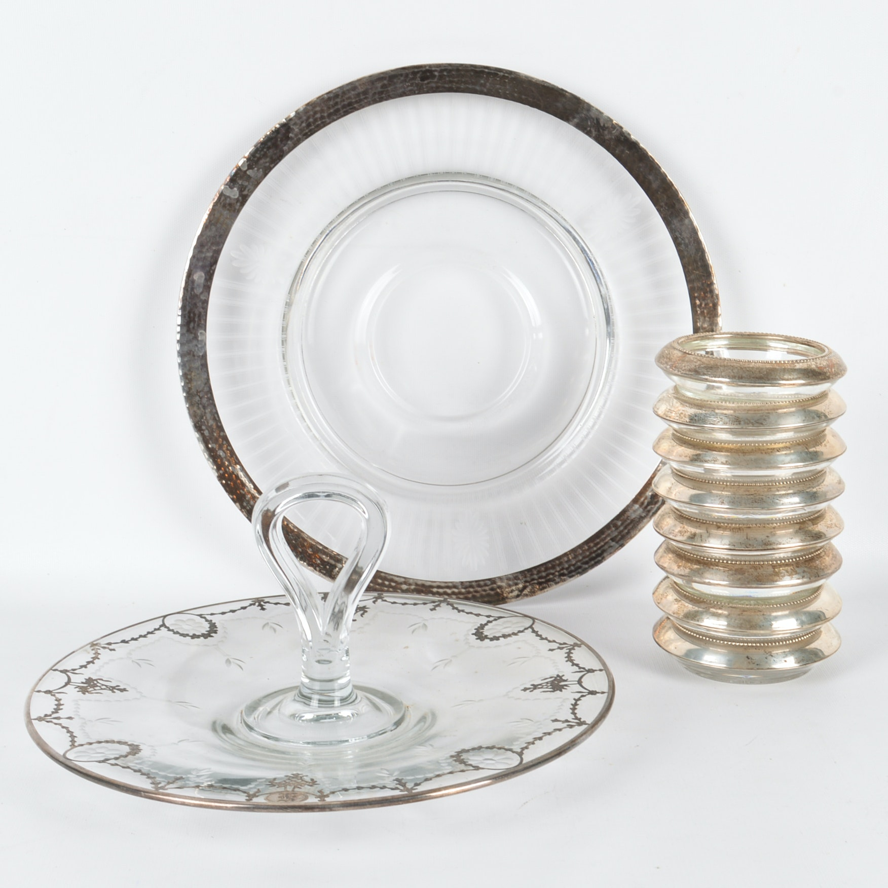 Sterling Silver Rimmed Coasters and Vintage Tableware