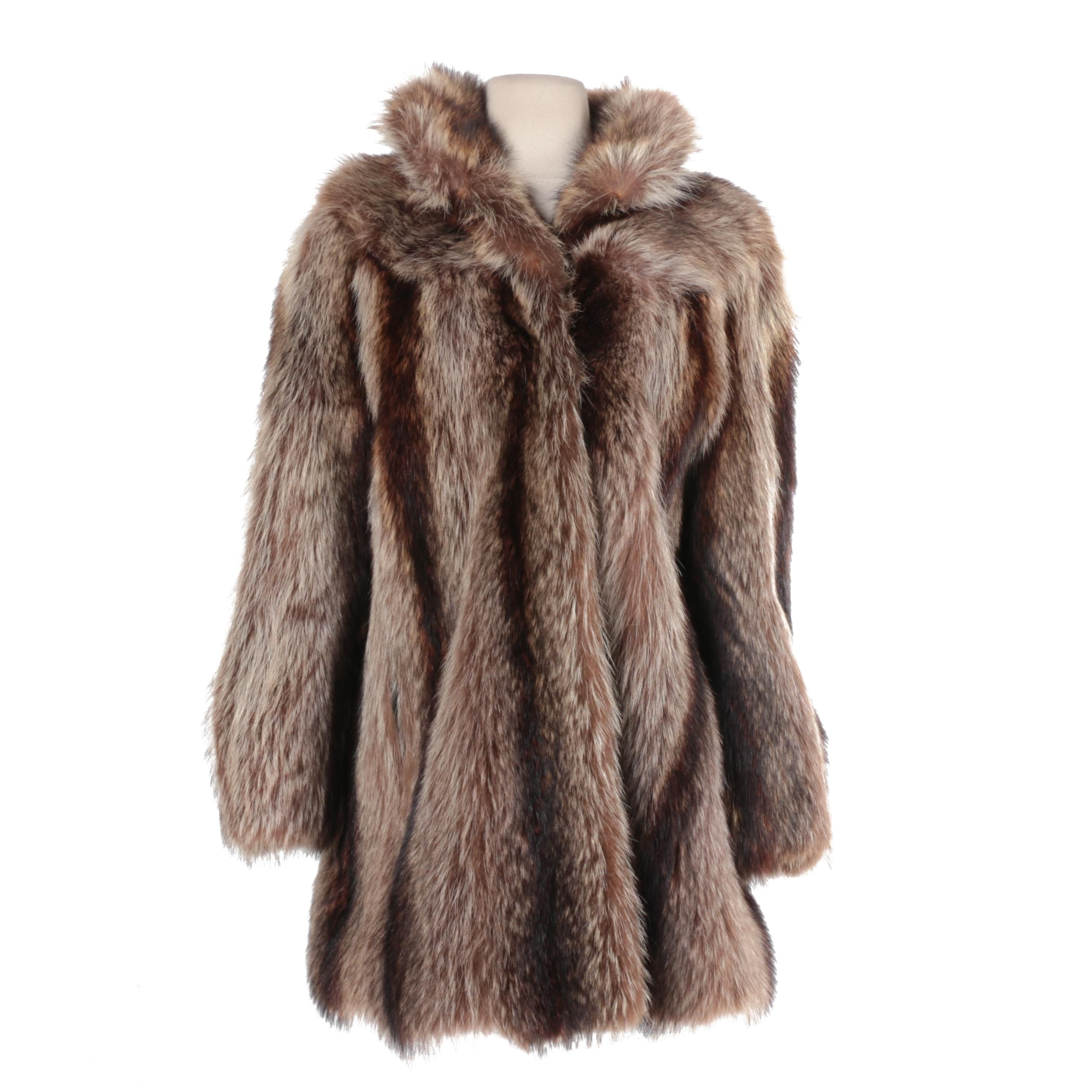 Furs by Bricker Raccoon Fur Coat with Attached Raccoon Tail