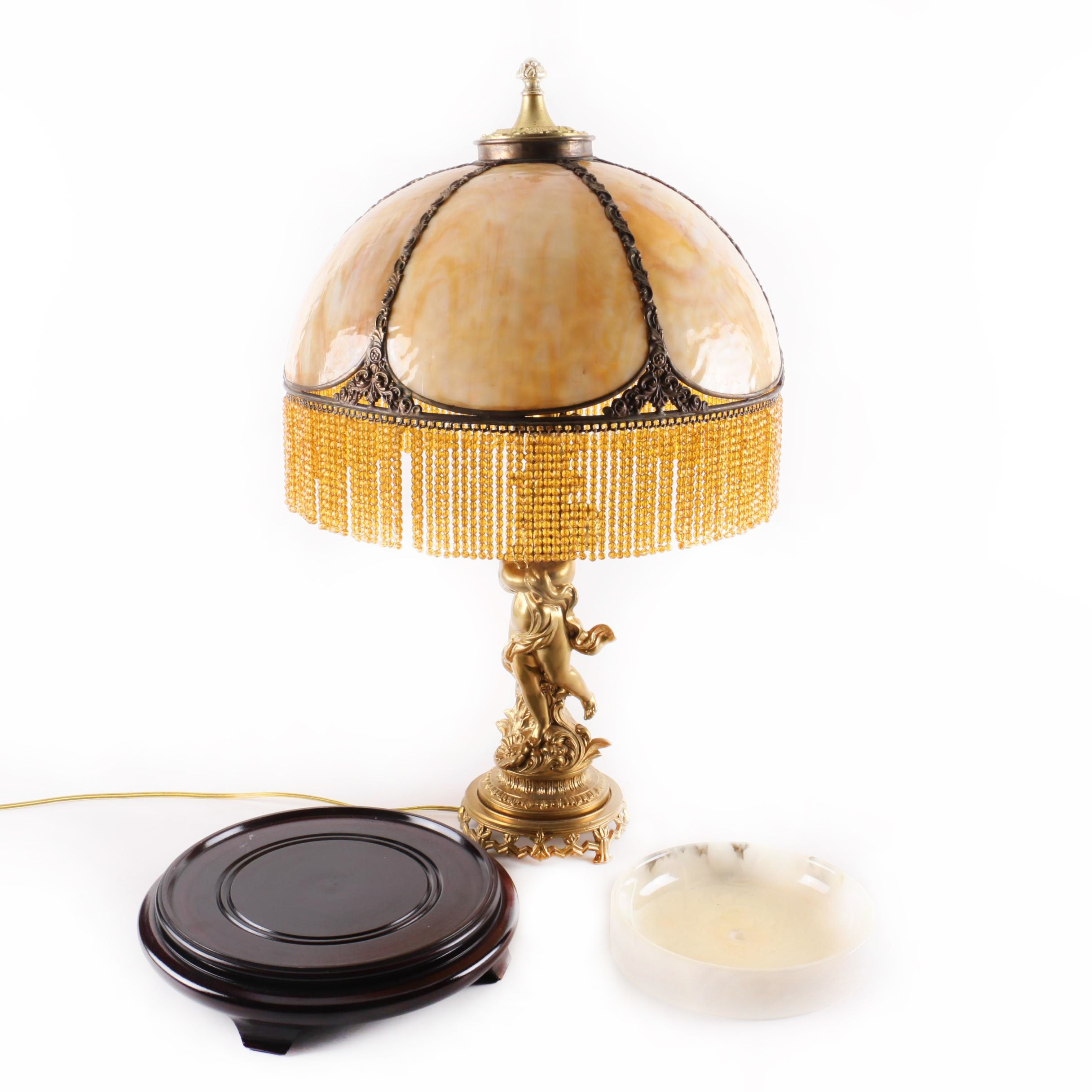Gold Tone Figural Lamp with Beaded Shade