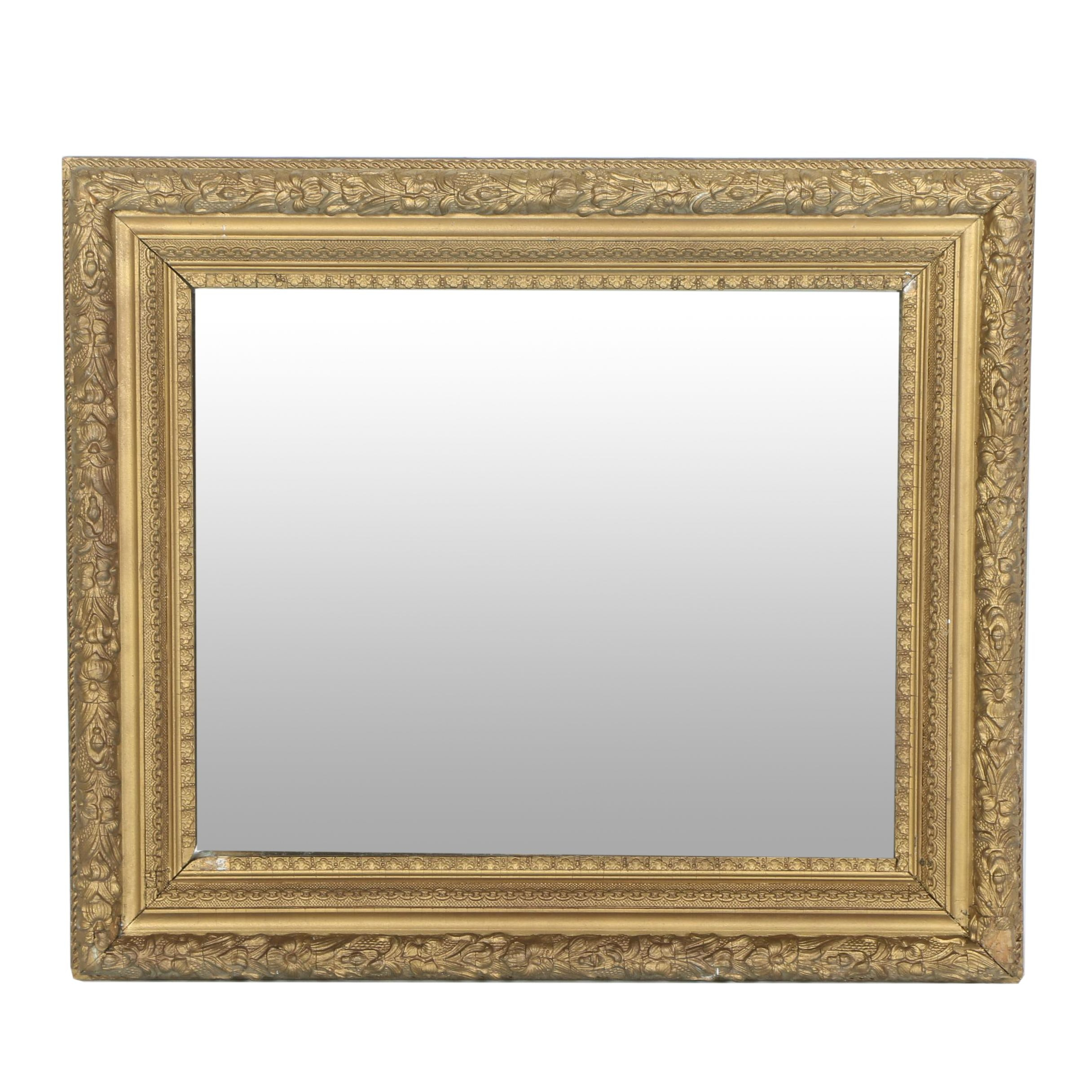 Vintage Gilt Square Wall Mirror
