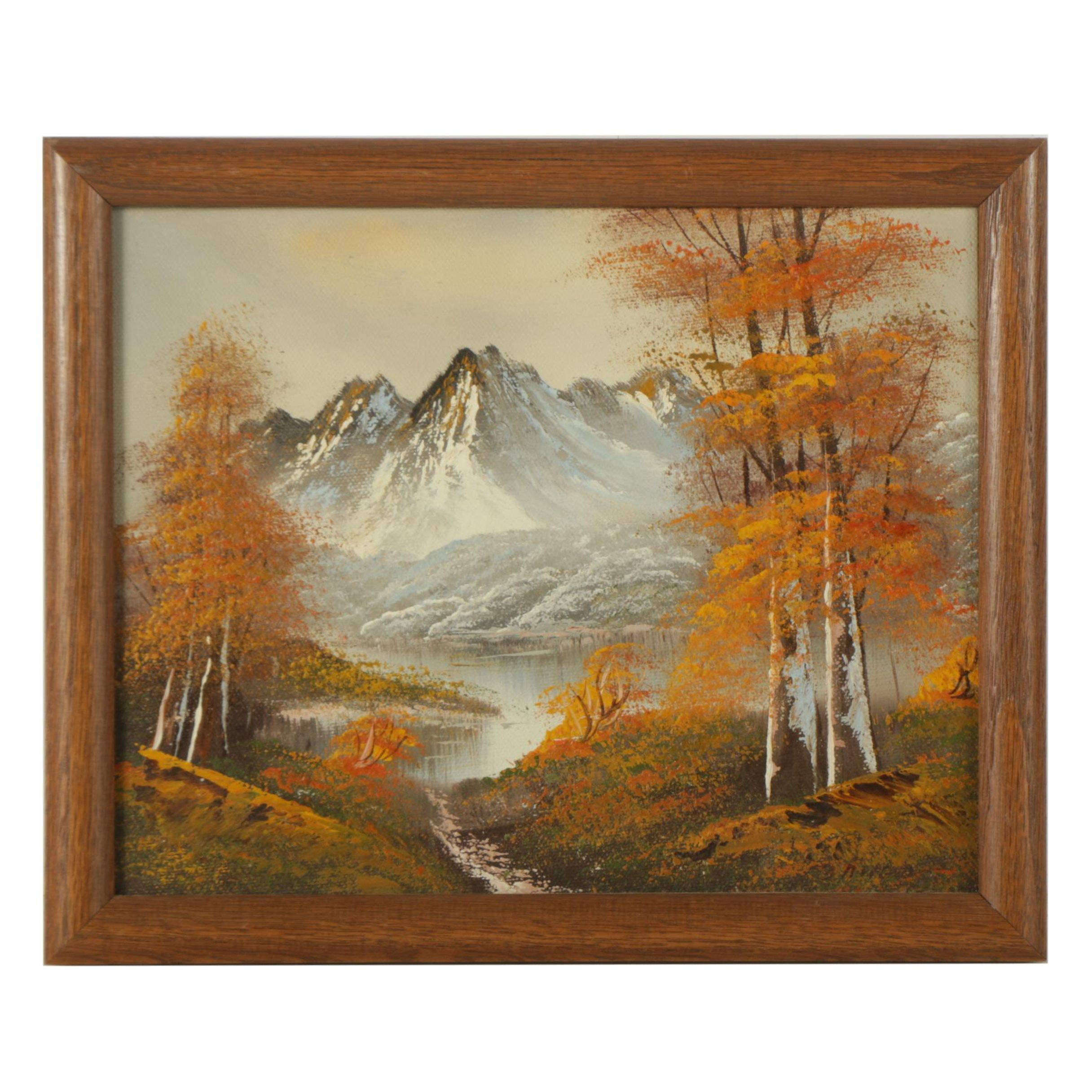 Oil Painting on Canvas Board of Mountain Scene