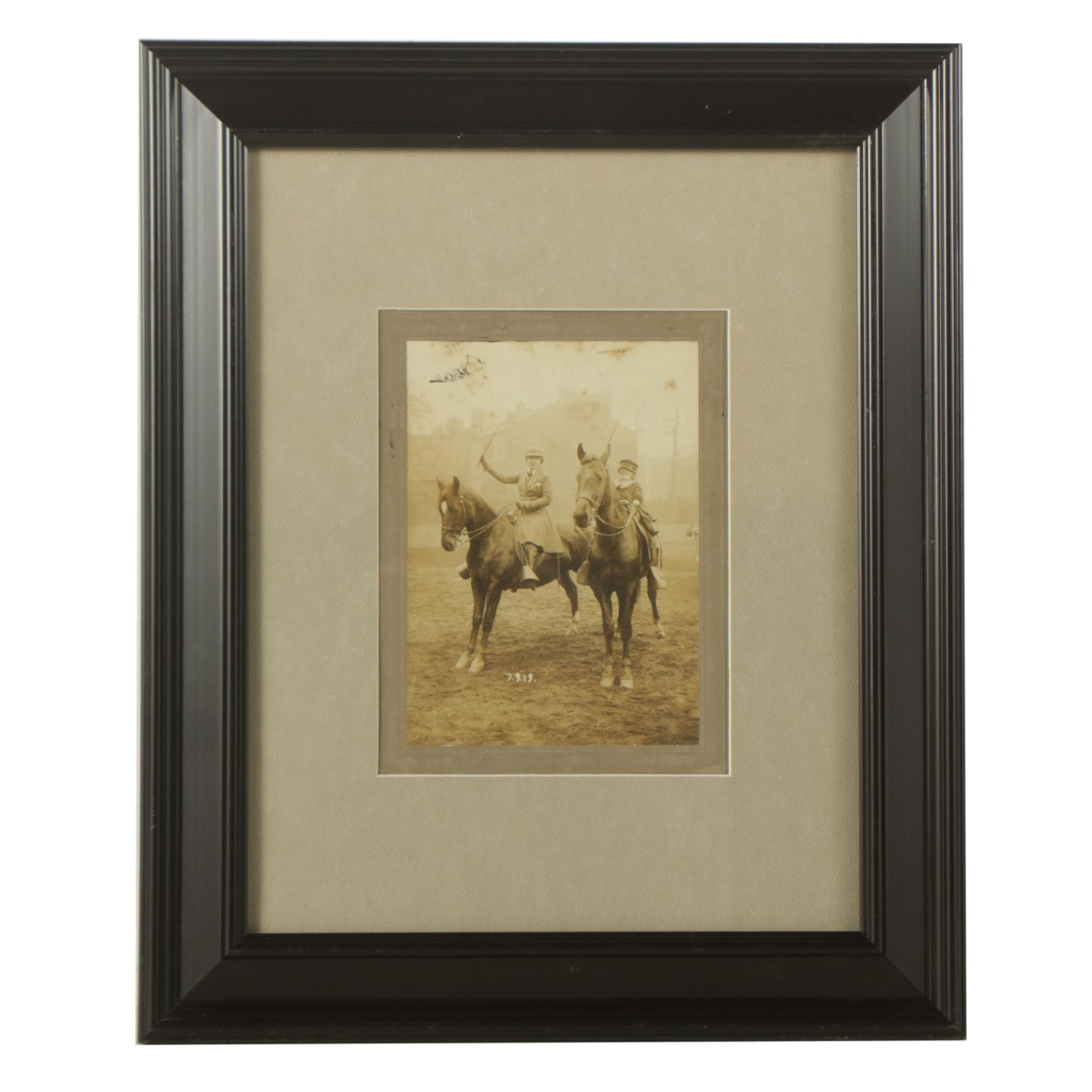 Vintage Photograph of Mother and Daughter on Horseback