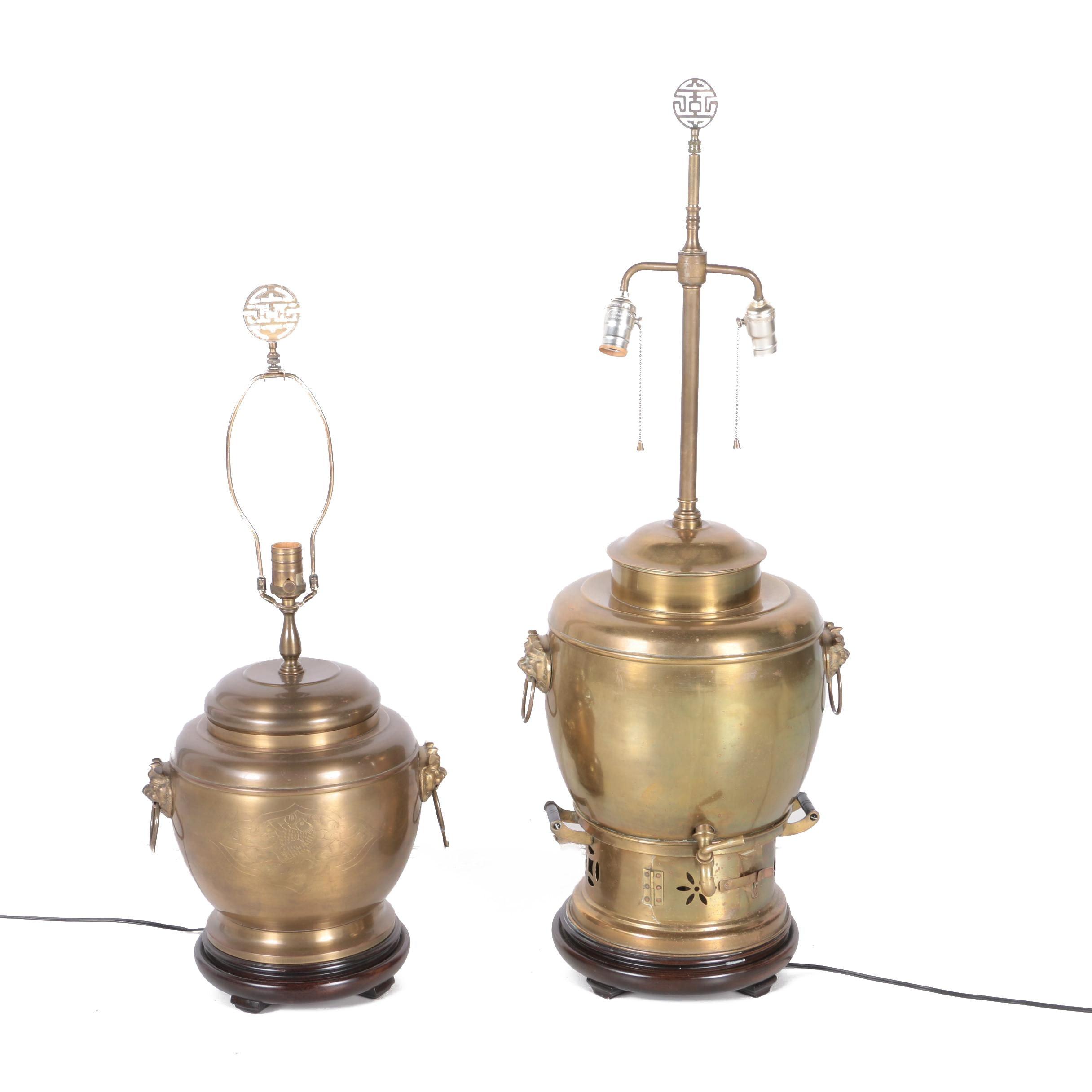 Vintage Brass Urn Table Lamps
