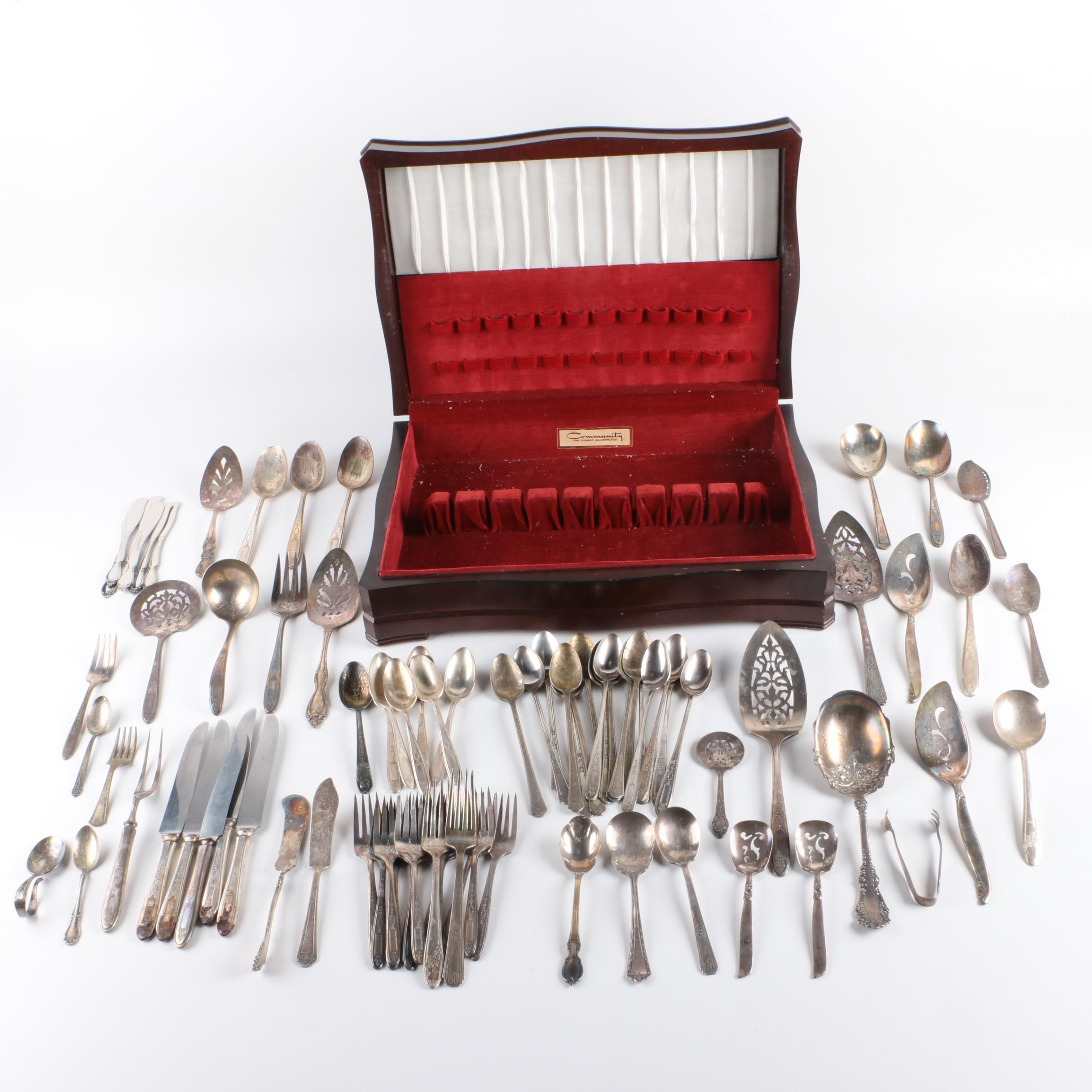 "Community ""Grosvenor"" Silver Plate Flatware with Assorted American Flatware"