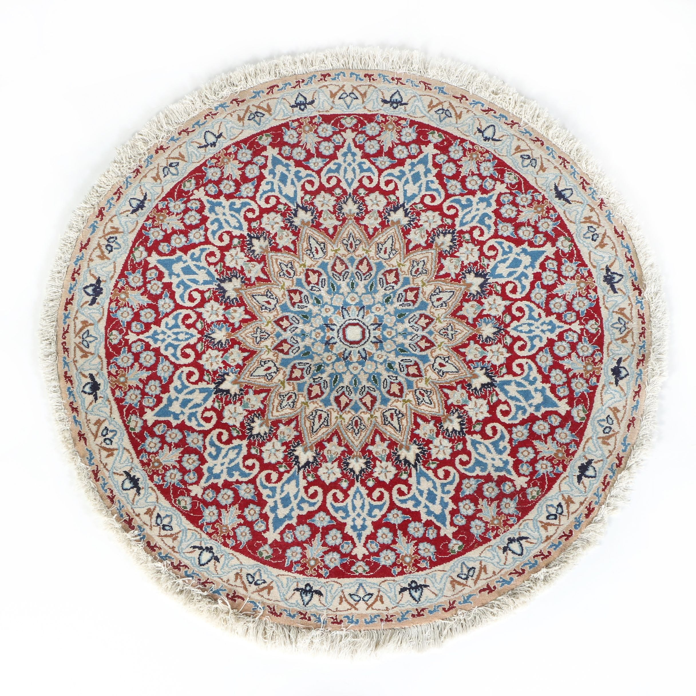 Hand-Knotted Persian Isfahan Round Wool Accent Rug