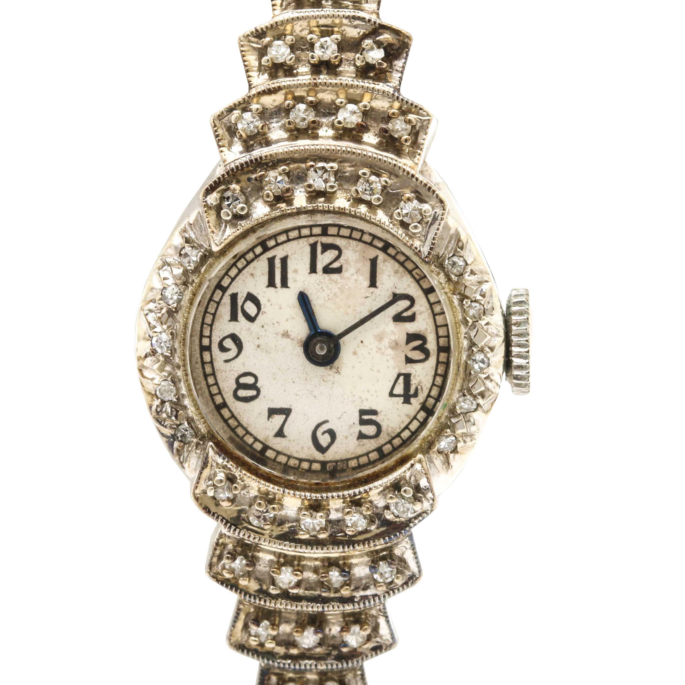 14K White Gold Diamond Wristwatch