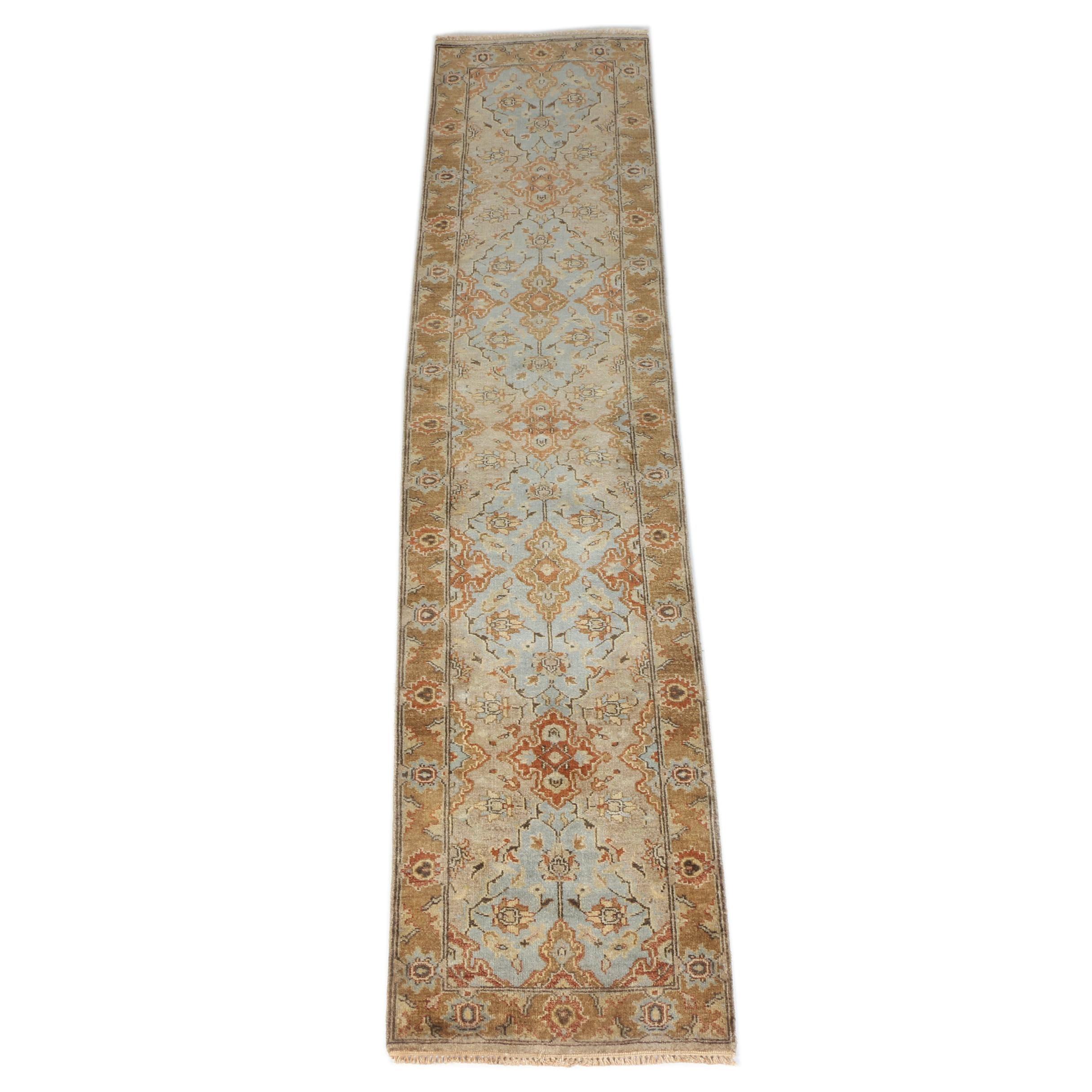 Hand-Knotted Indo-Oushak Carpet Runner