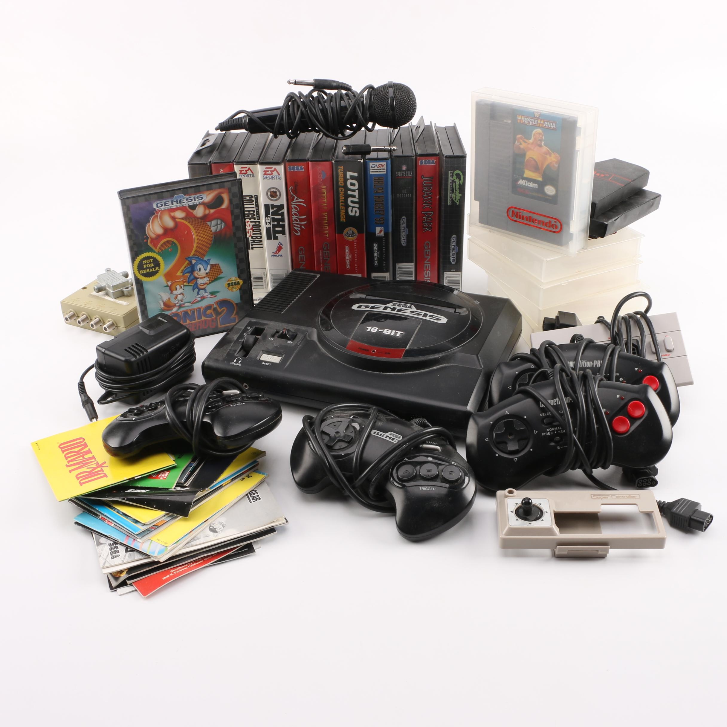 Sega Genesis Console with Genesis and SNES Related Games and Accessories