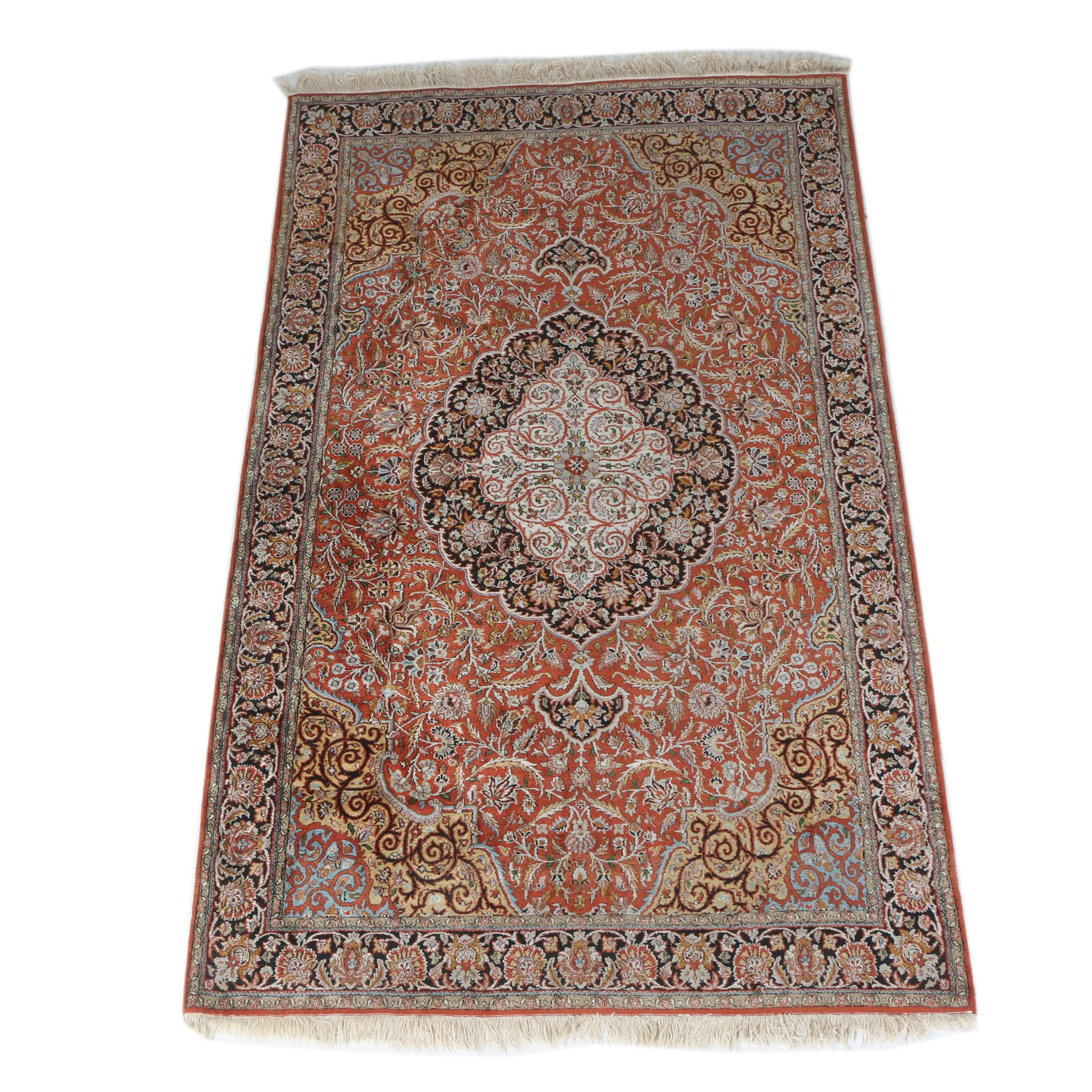 Finely Hand-Knotted Persian Kashan Area Rug