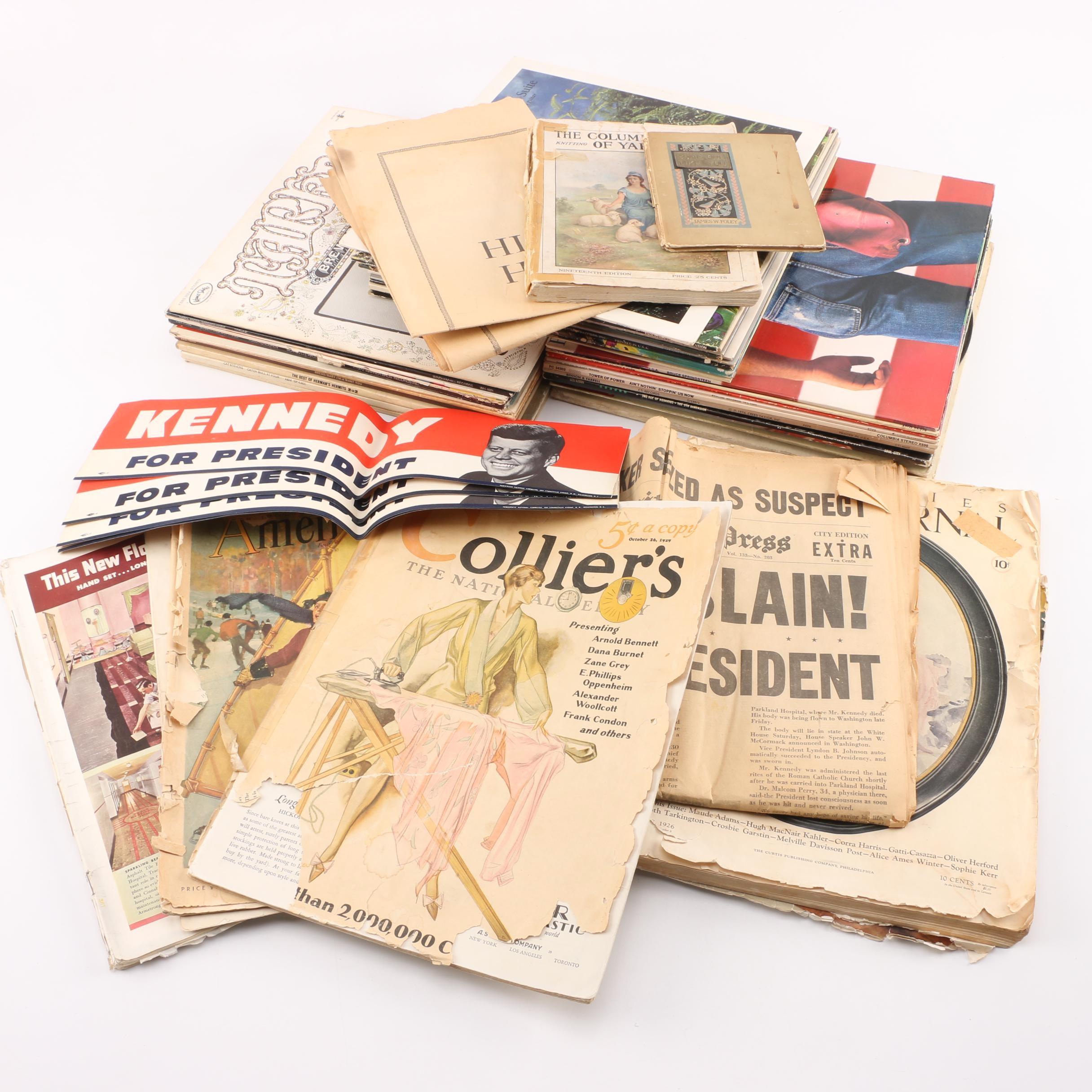 Vintage Political Memorabilia, Records, Newspapers and Ephemera