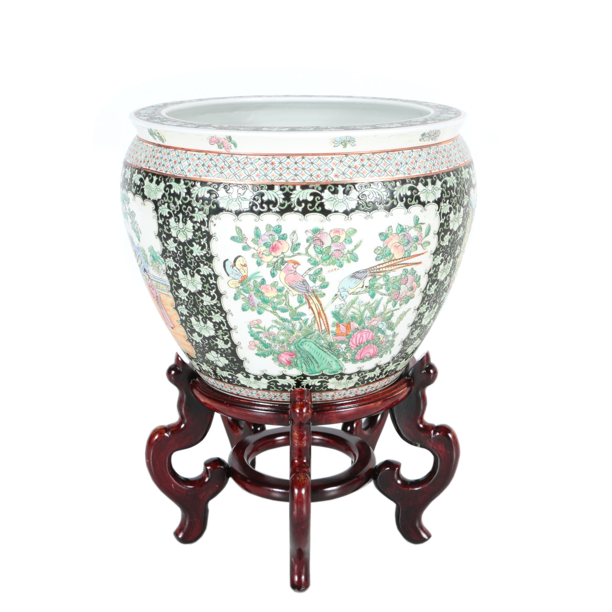 Asian Themed Ceramic Planter with Stand