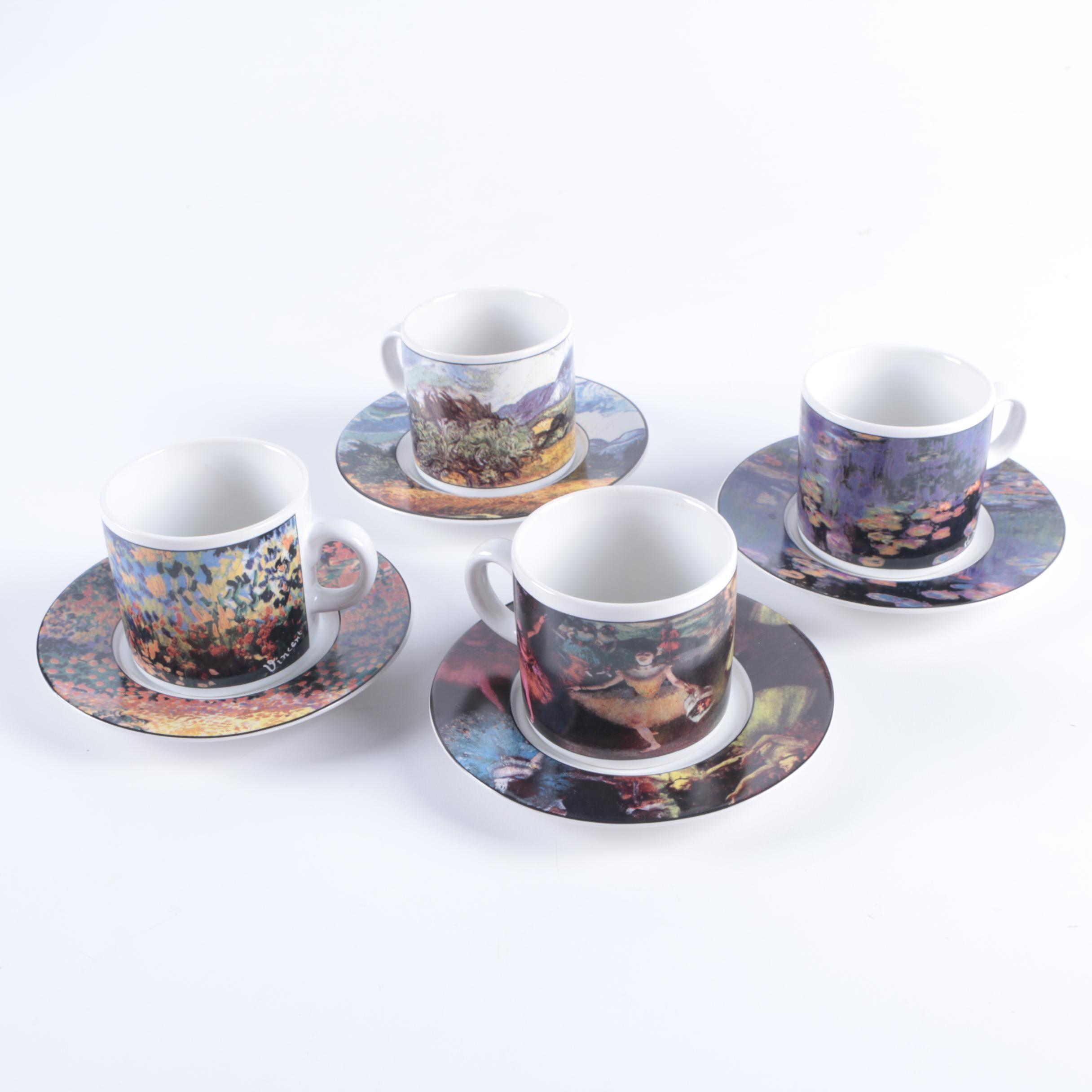 "Sakura ""Museum Masters"" Porcelain Cups and Saucers"
