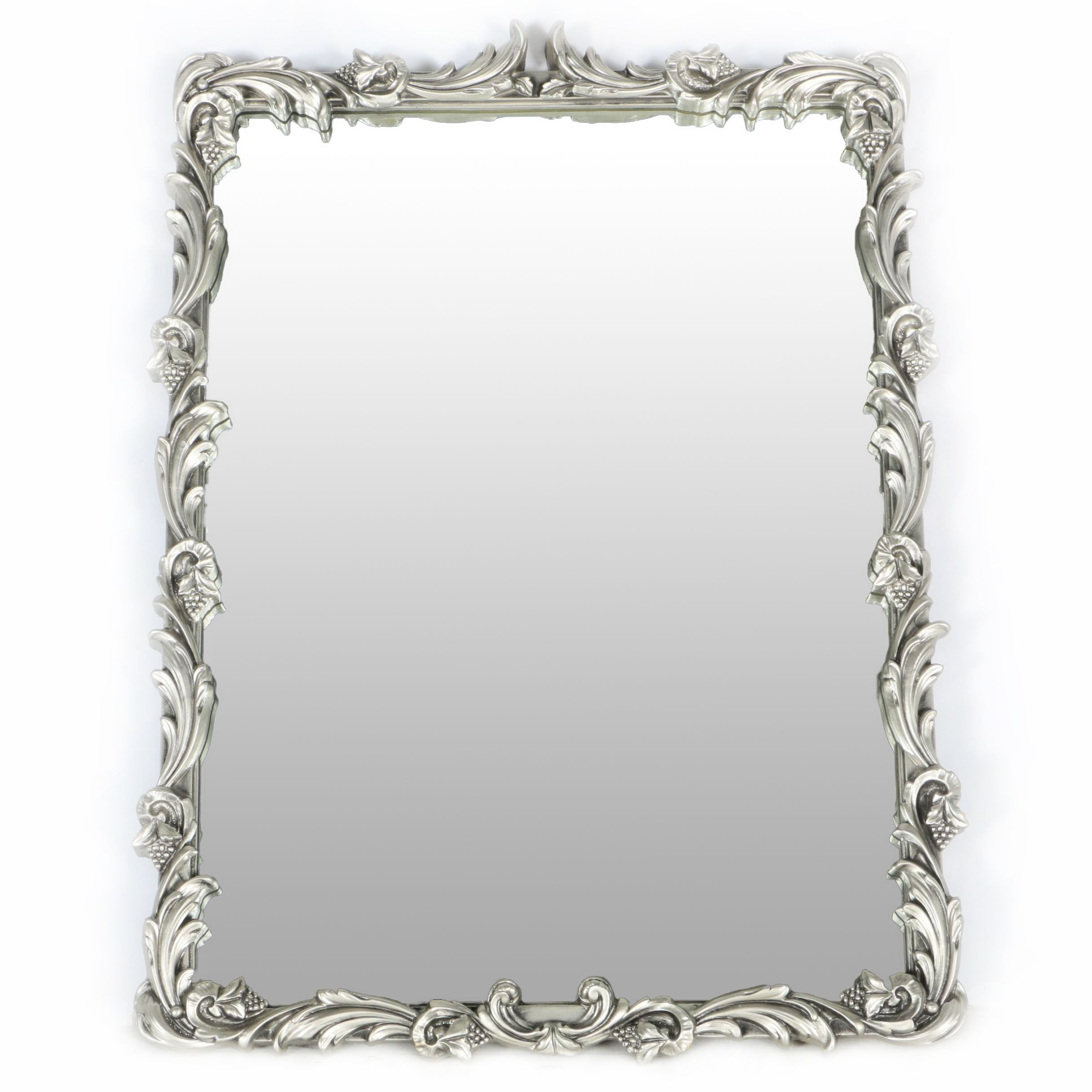 Wall Mirror with Silver Tone Frame