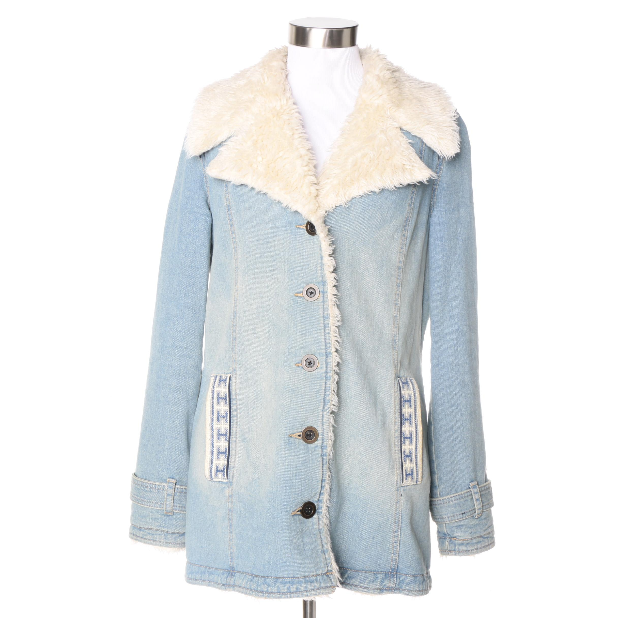 Women's Free People Embroidered Denim Jacket with Faux Fur Lining