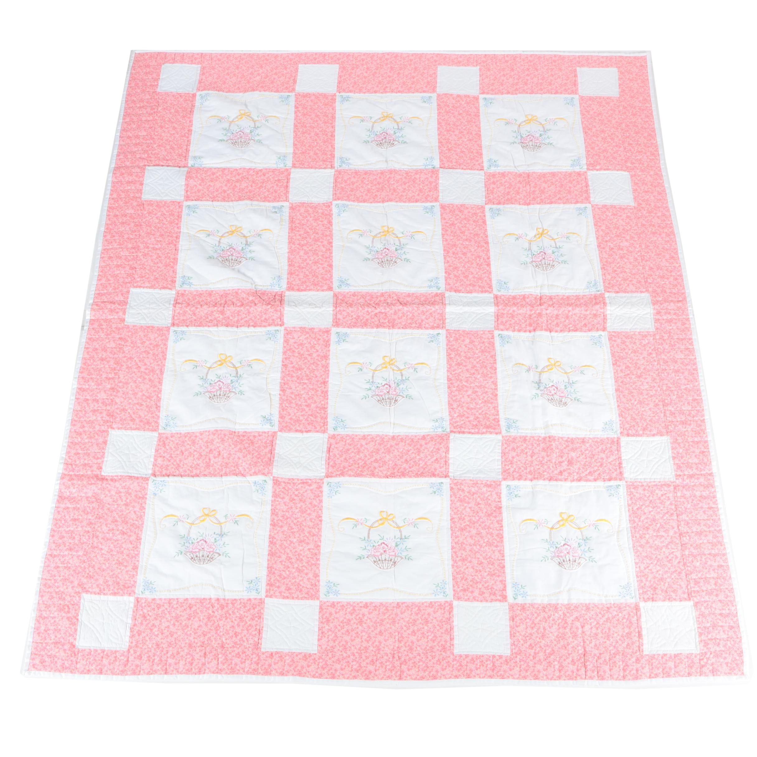 "Embroidered ""Flower Basket"" Quilt"