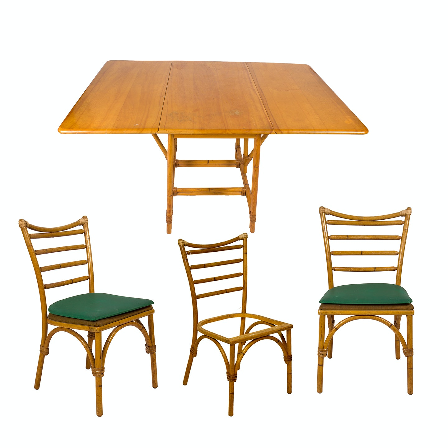 Vintage Heywood-Wakefield Drop Leaf Rattan Table and Chairs