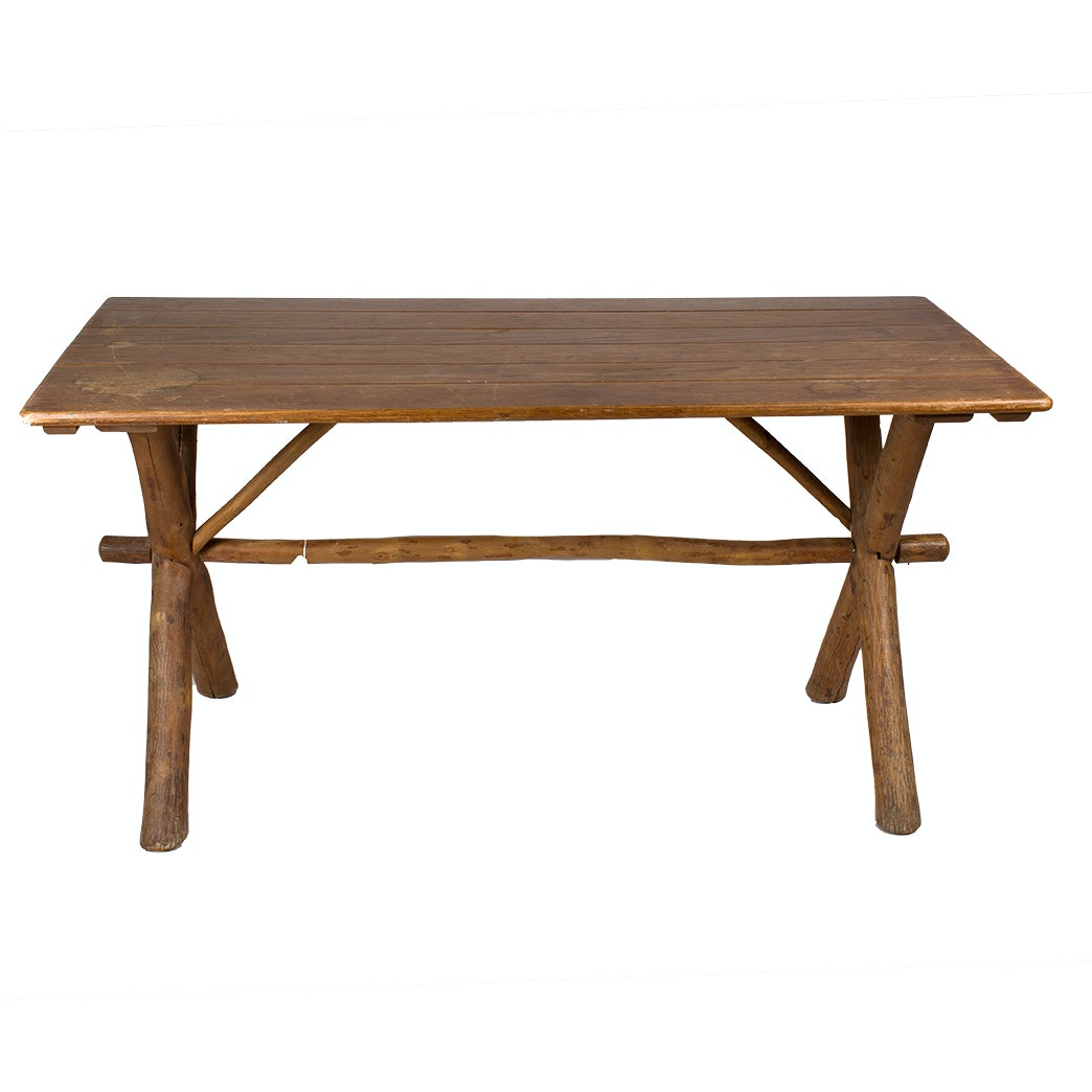 Rustic Picnic Style Farm Table