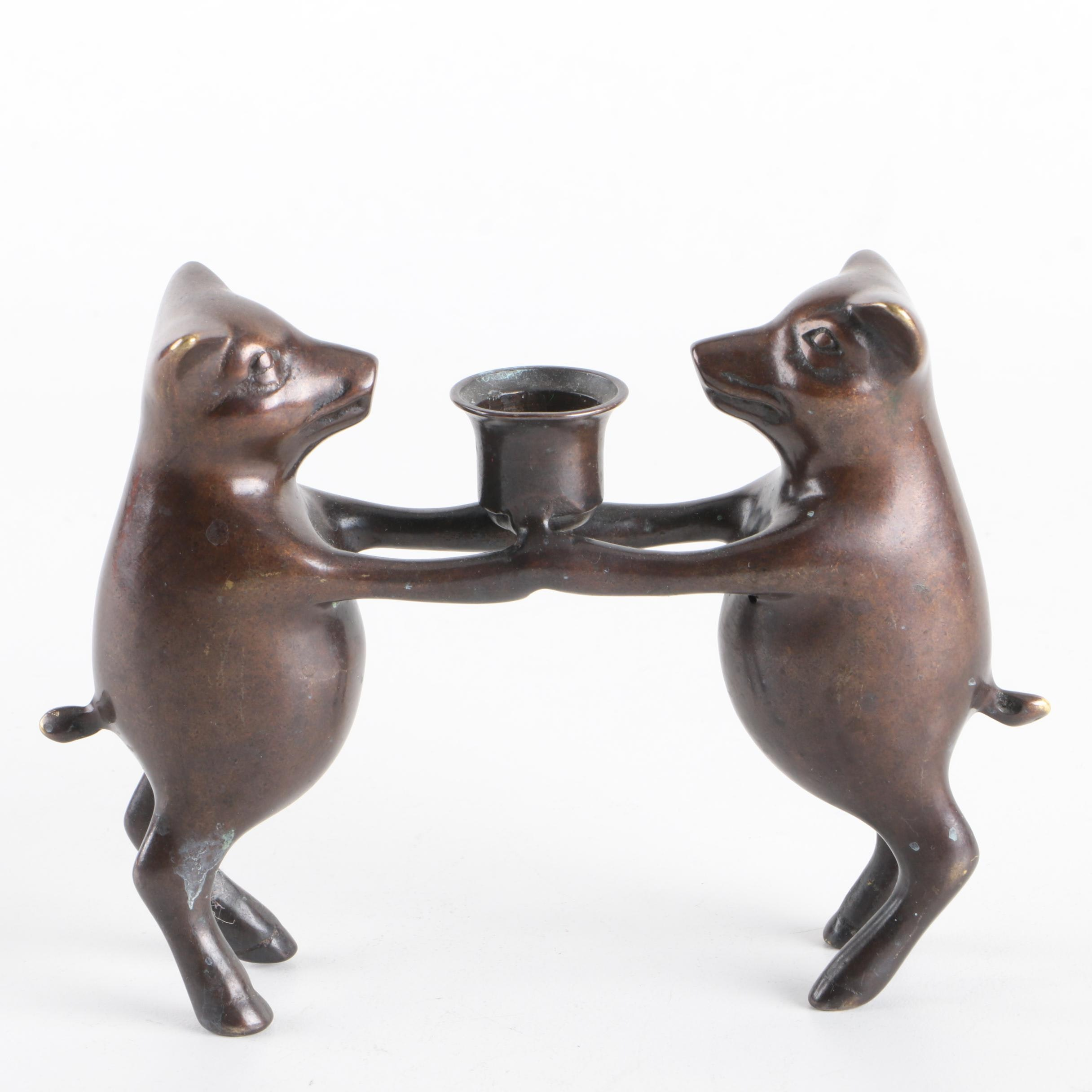 Metal Candleholder Featuring Two Pigs