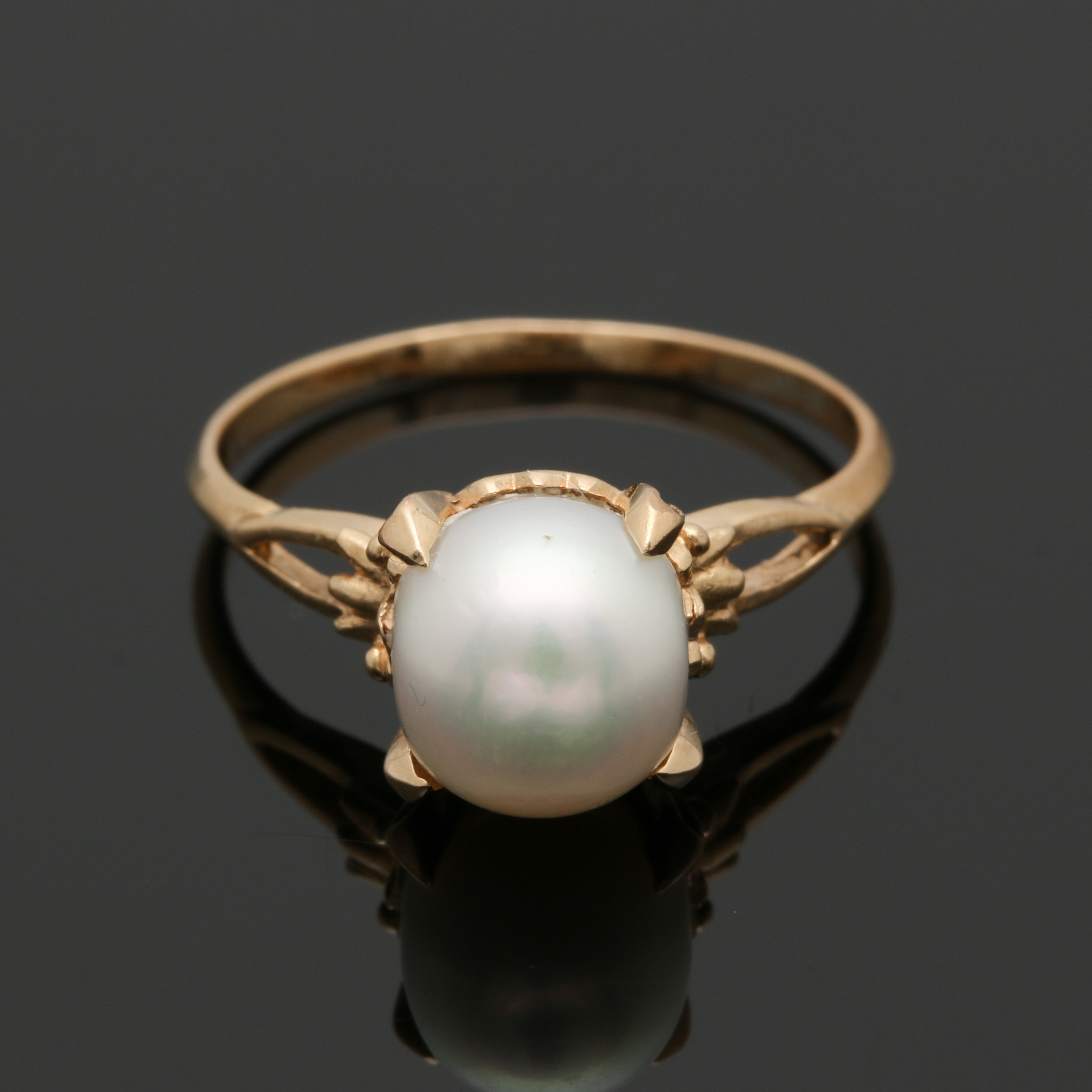 18K Yellow Gold Cultured Pearl Ring