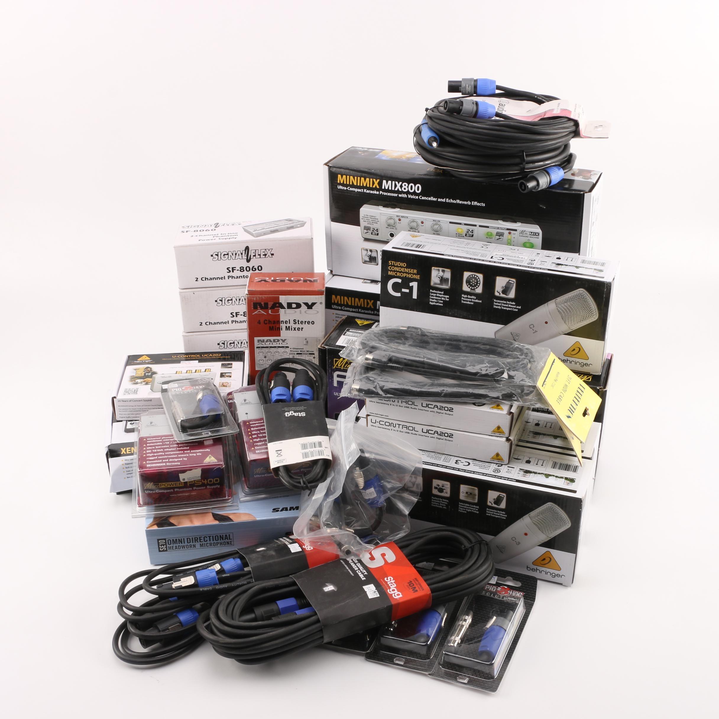Studio Condenser Microphones, Speaker Cables, and Other Audio Equipment