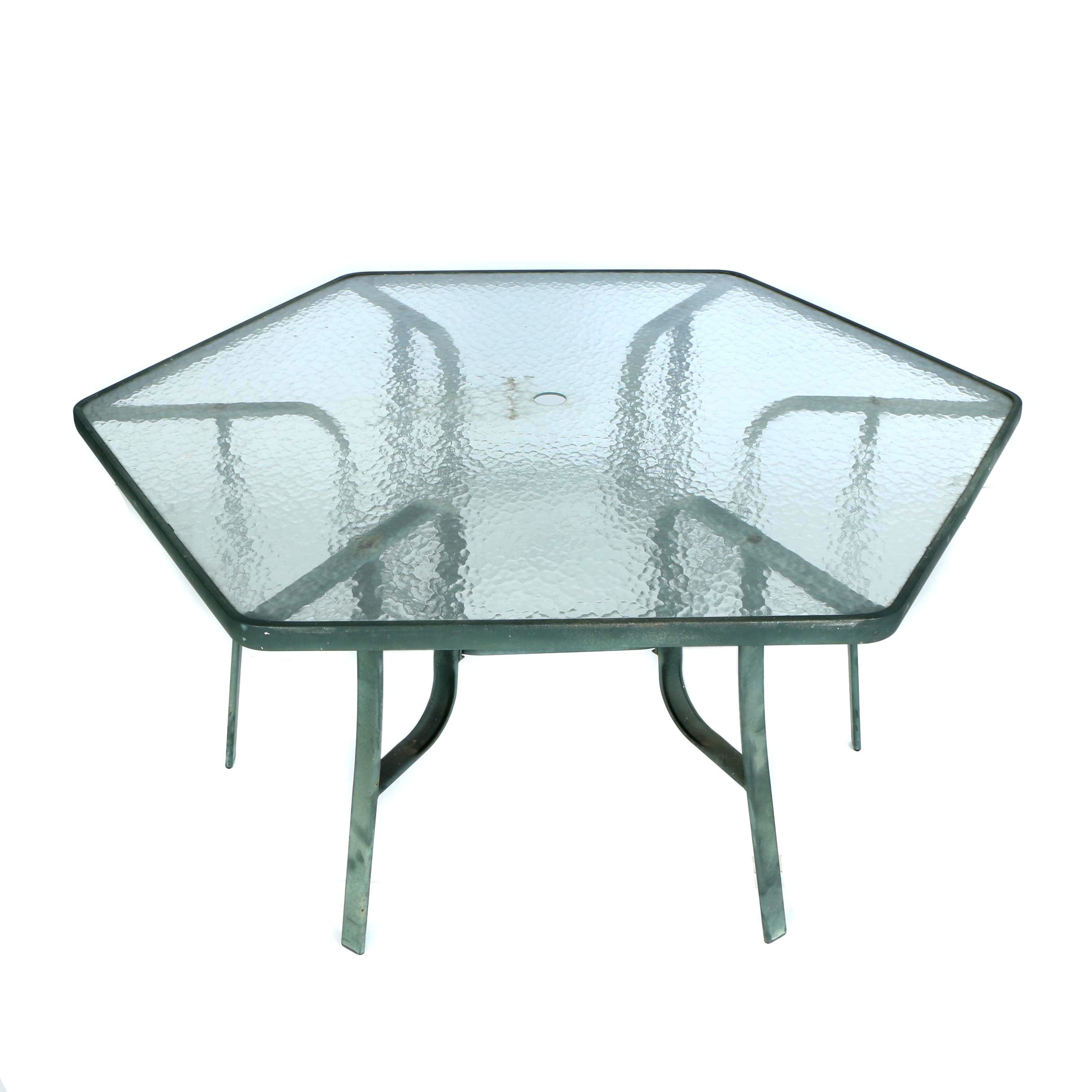 Glass Top Patio Table with Umbrella Stand
