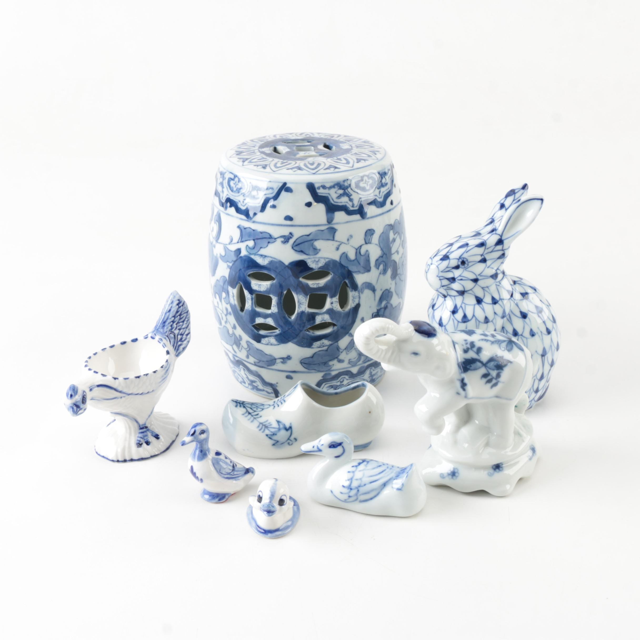 Blue and White Porcelain Figurines and Miniature Garden Seat