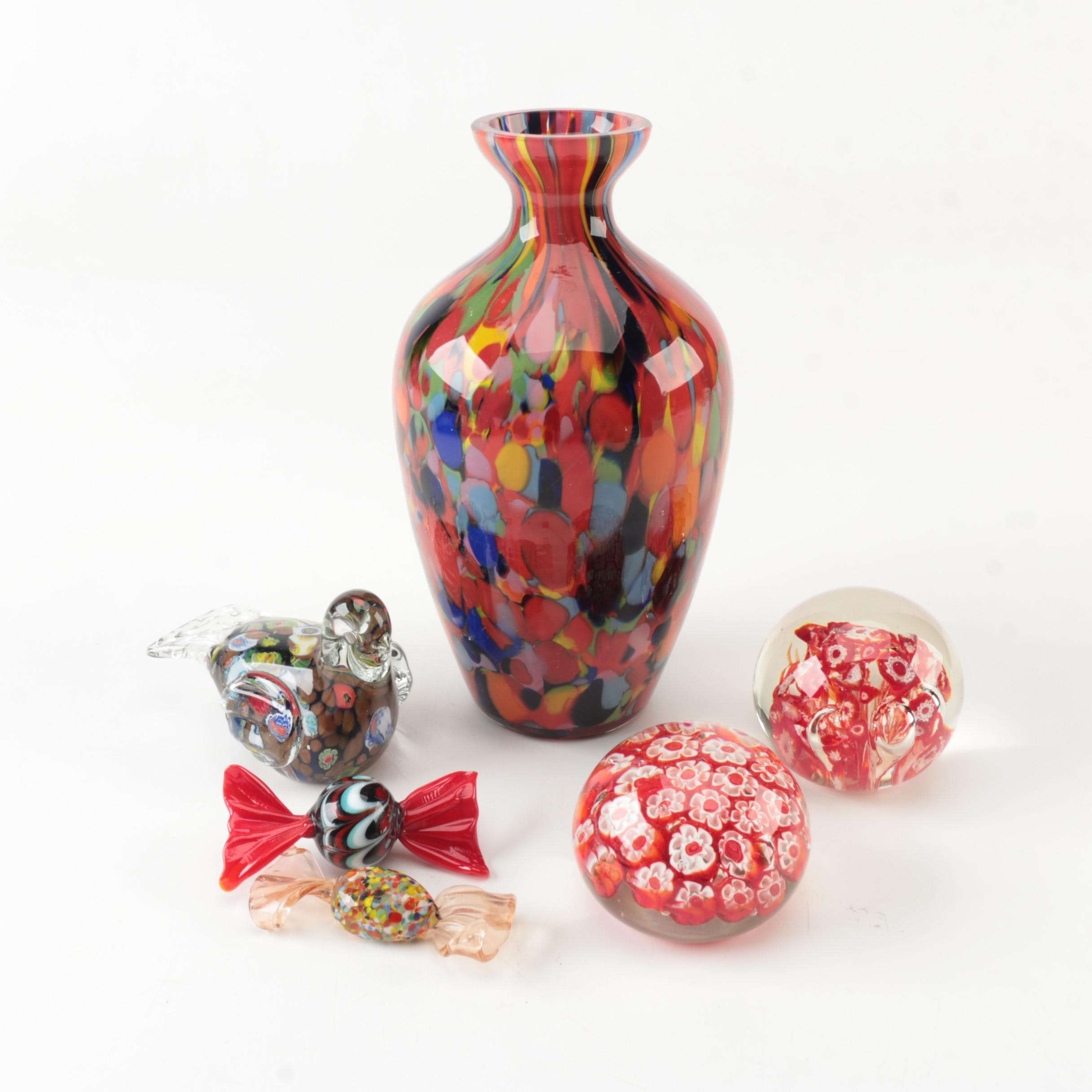 Art Glass Decor Including Millefiori Paperweights