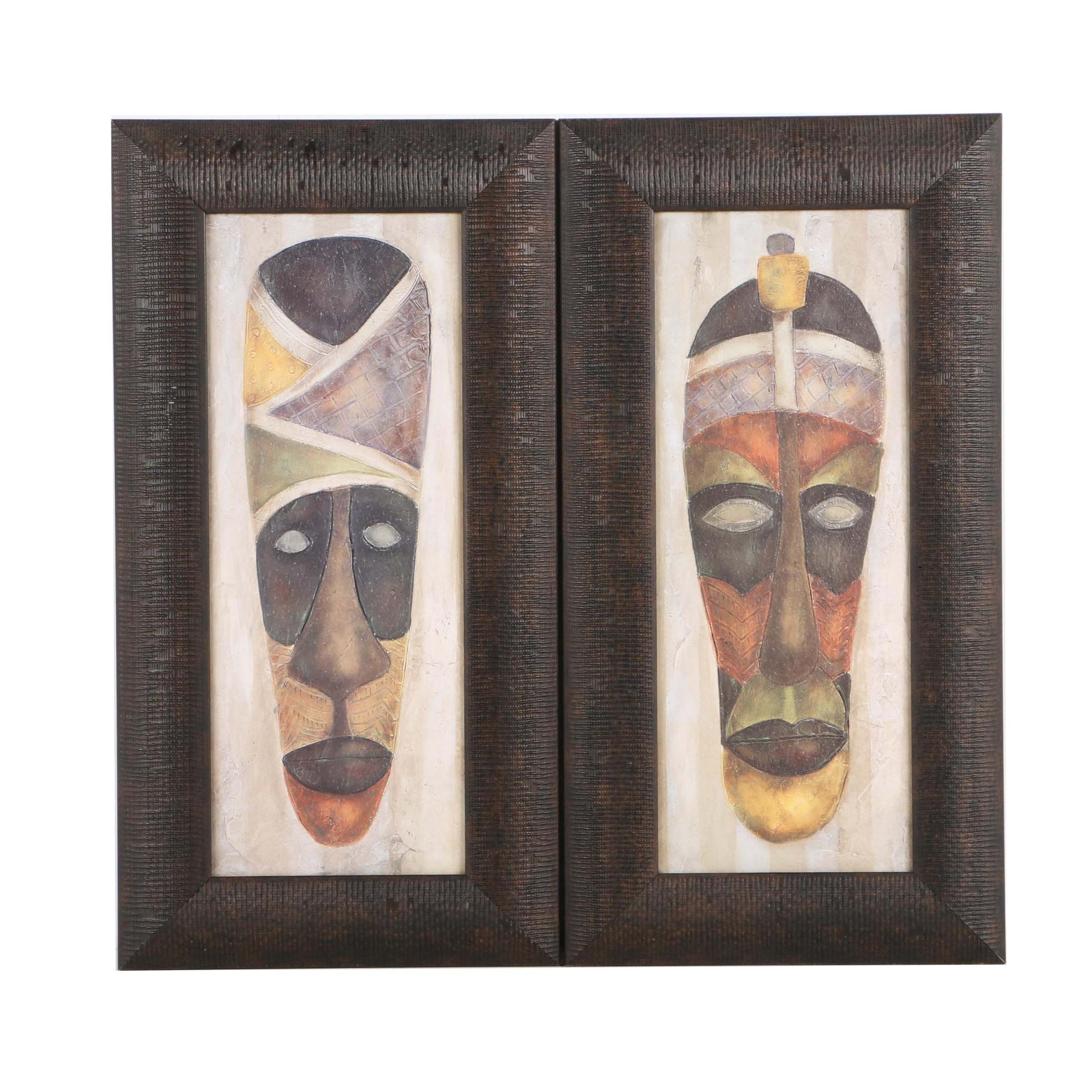 Offset Lithographs on Paper After Carol Robinson of African Masks