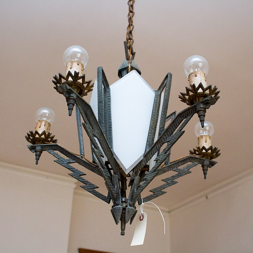 Art Deco Iron and Glass Chandelier