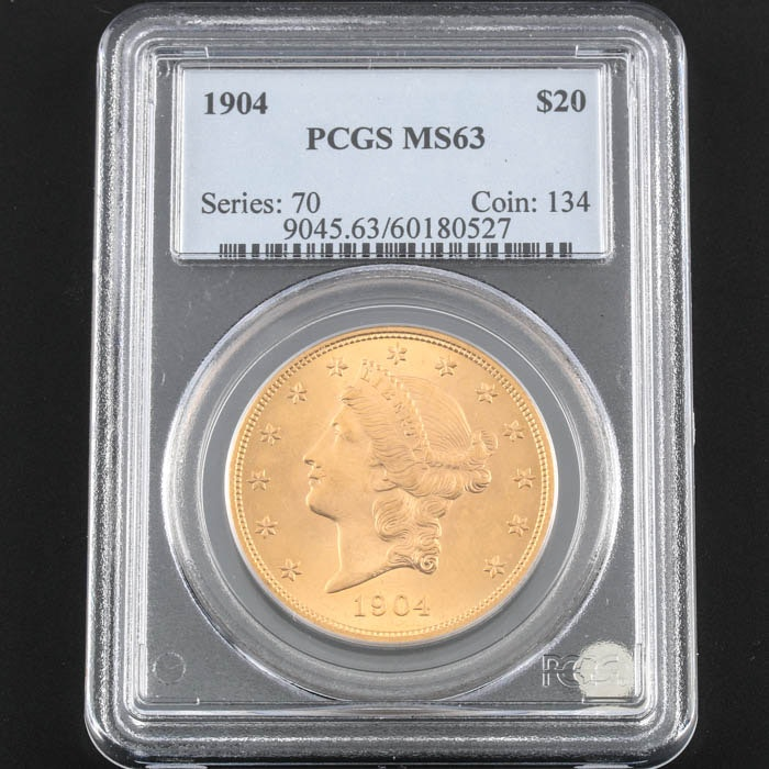 PCGS Graded MS63 1904 Liberty Head Gold Double Eagle