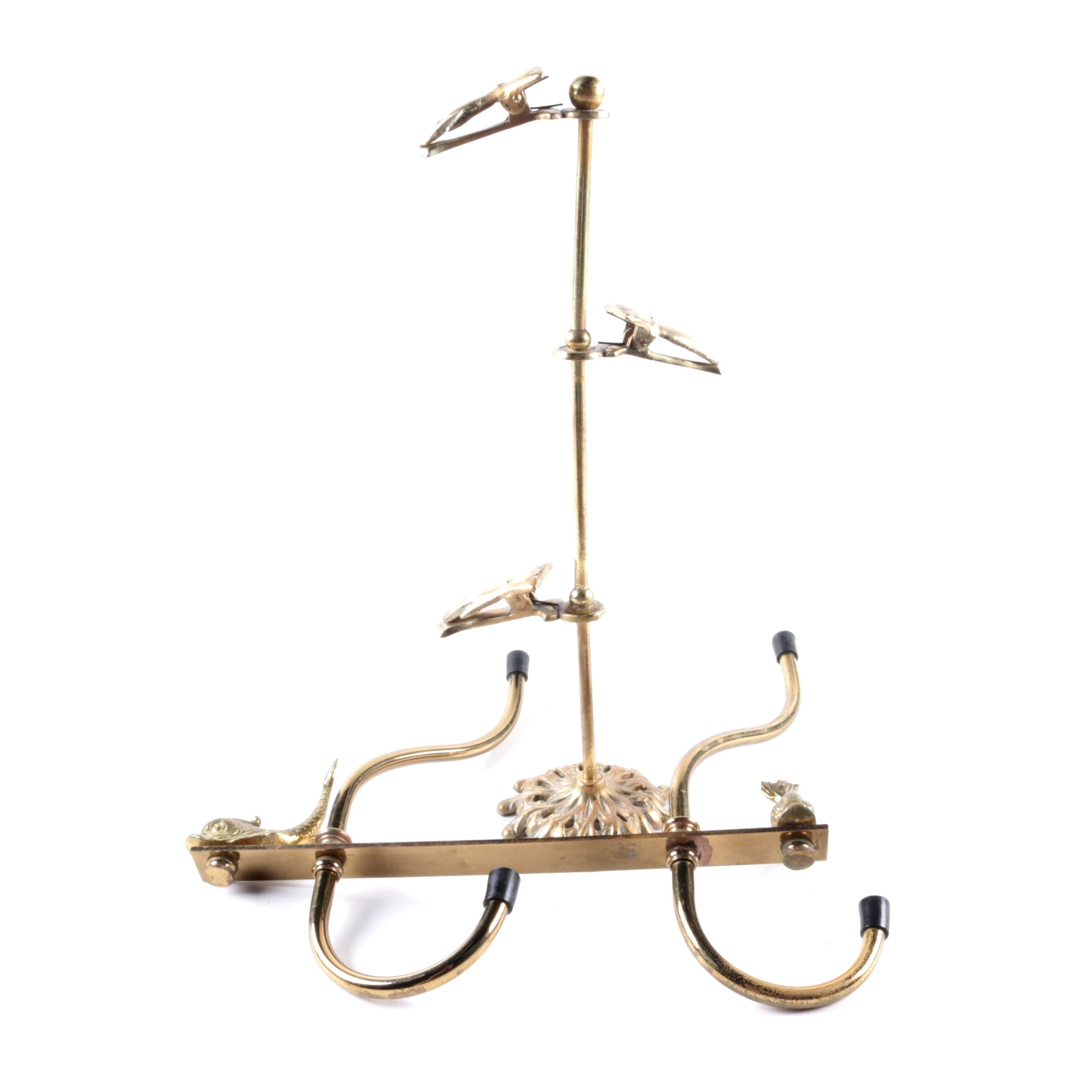 Brass Wall Hooks and Stand