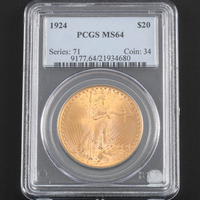 PCGS Graded MS64 1924 Saint Gaudens Gold Double Eagle