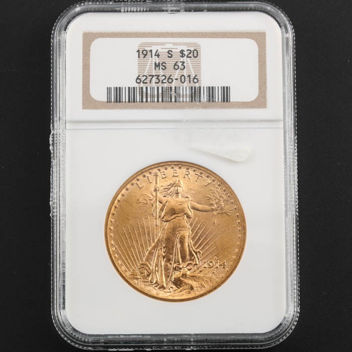 NGC Graded MS63 1914 S Saint Gaudens Gold Double Eagle
