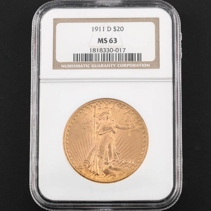 NGC Graded MS63 1911 D Saint Gaudens Gold Double Eagle