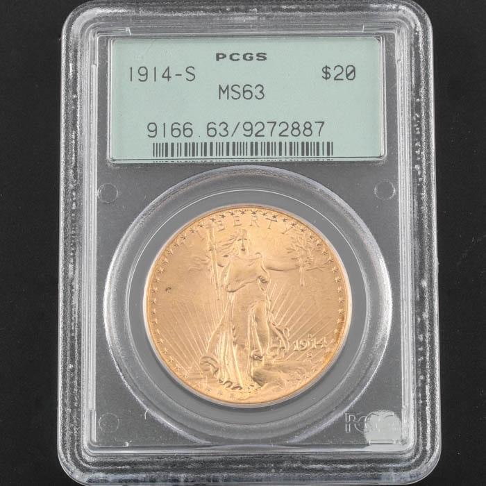 PCGS Graded MS63 1914 S Saint Gaudens Gold Double Eagle