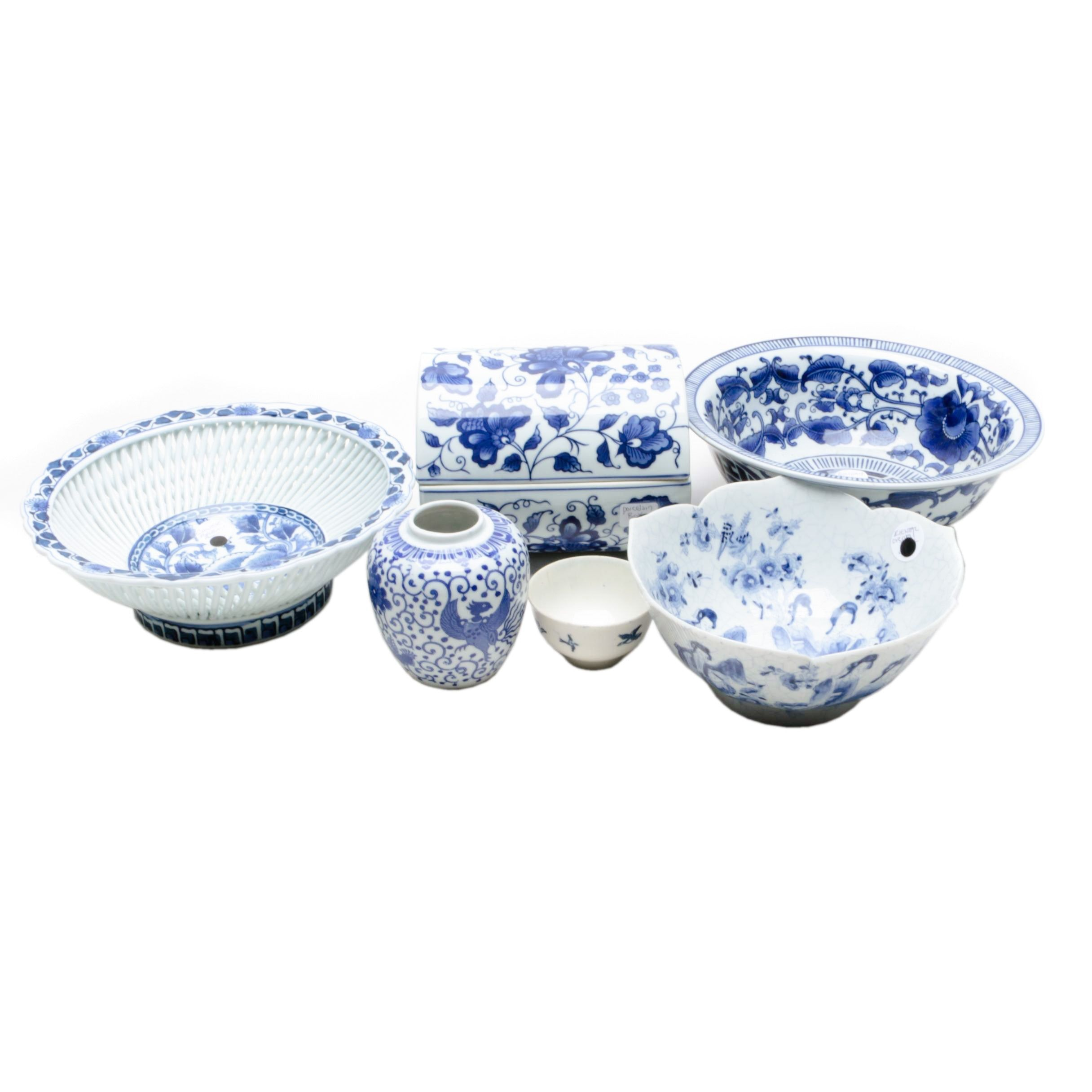 Blue and White Tableware Vase and Box