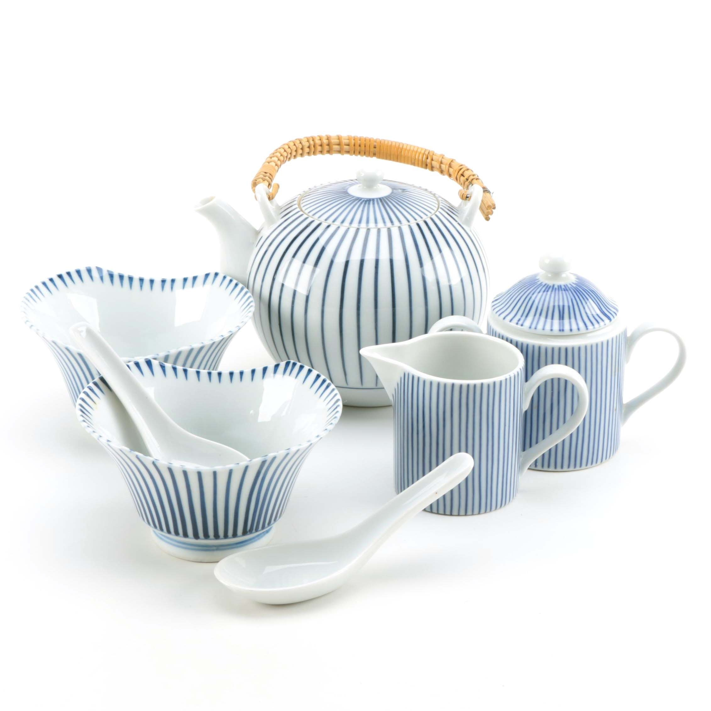Blue and White Porcelain Tableware Featuring Fitz and Floyd