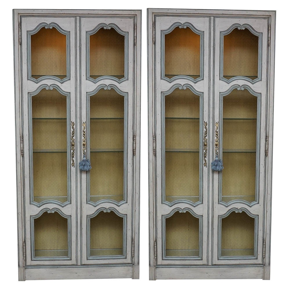Pair of Mid-20th Century Painted Provincial Style Display Cabinets