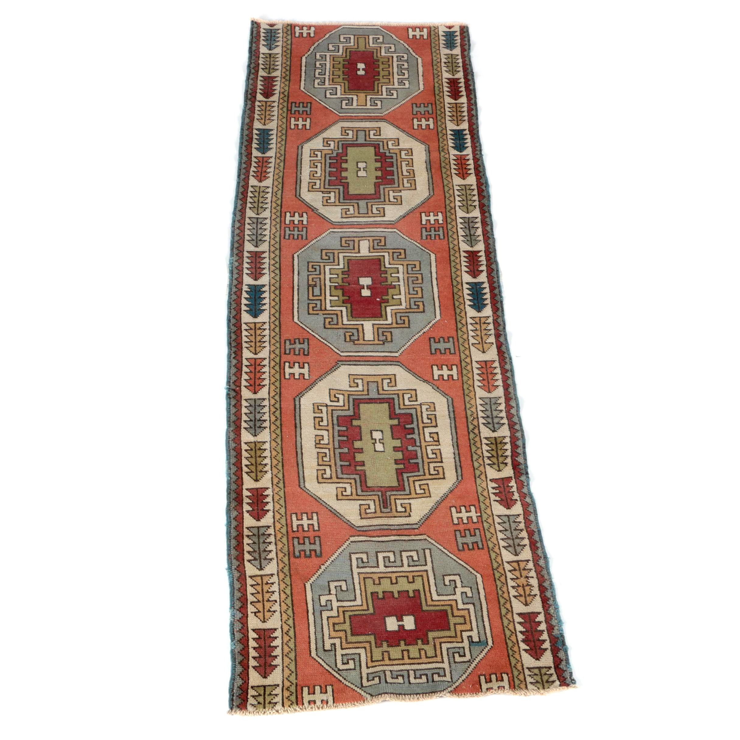 Handwoven Kazak Wool Carpet Runner