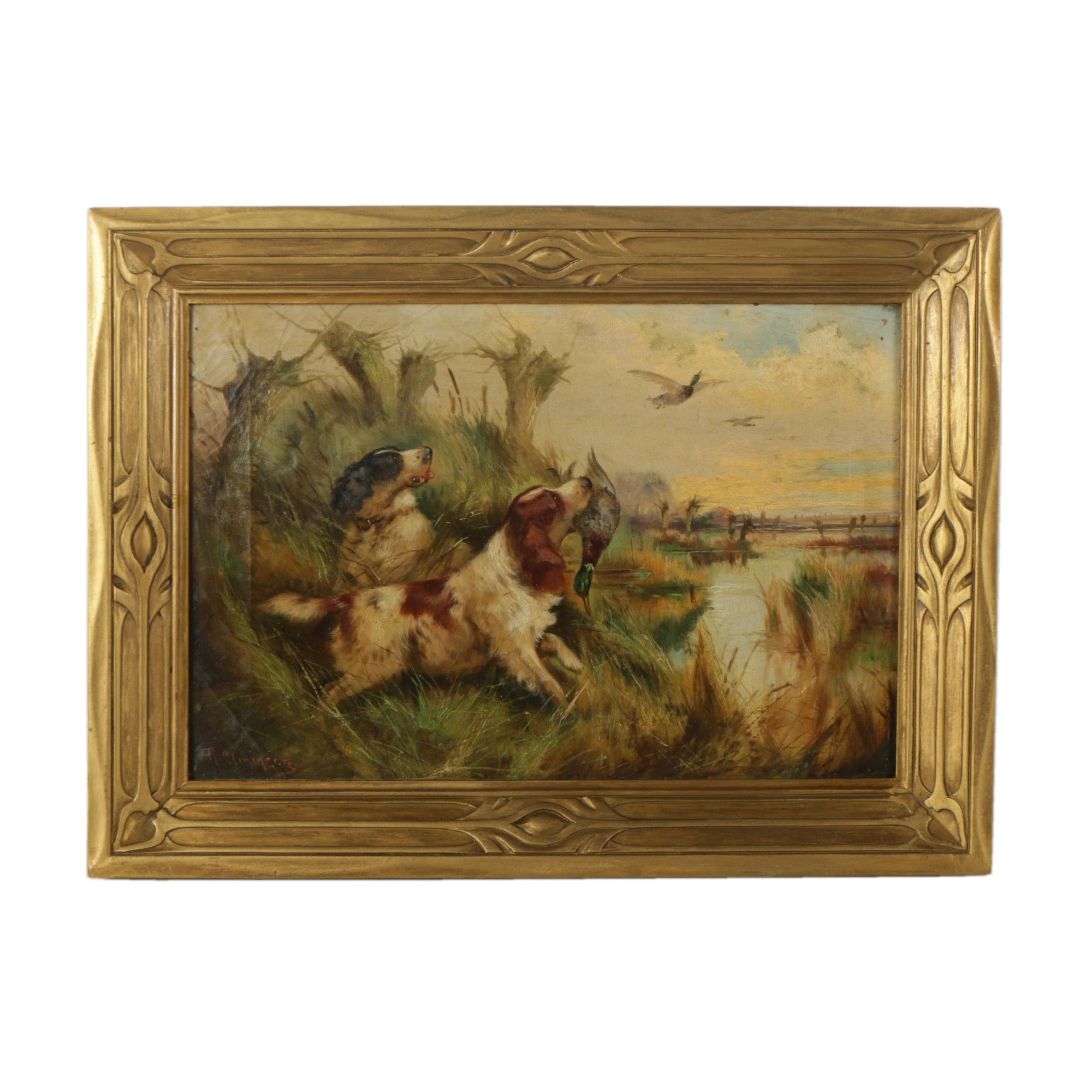 Robert Cleminson Oil Painting on Canvas of Hunting Dogs