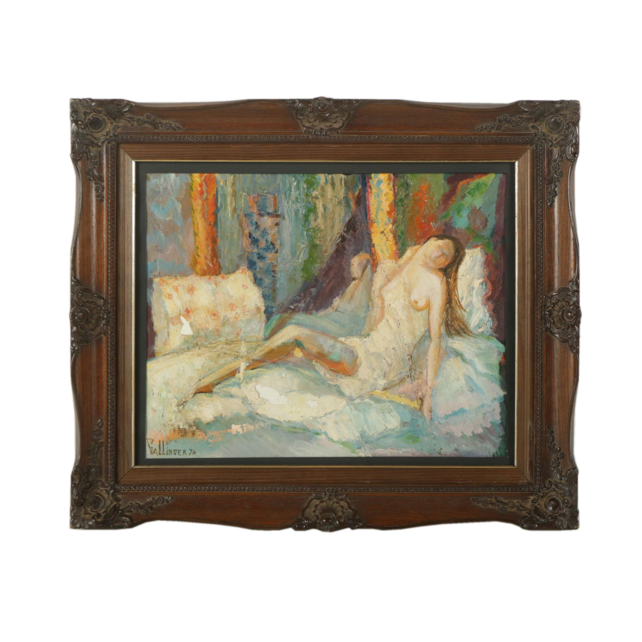 Gallinger Oil Painting on Board of a Semi Nude Figure