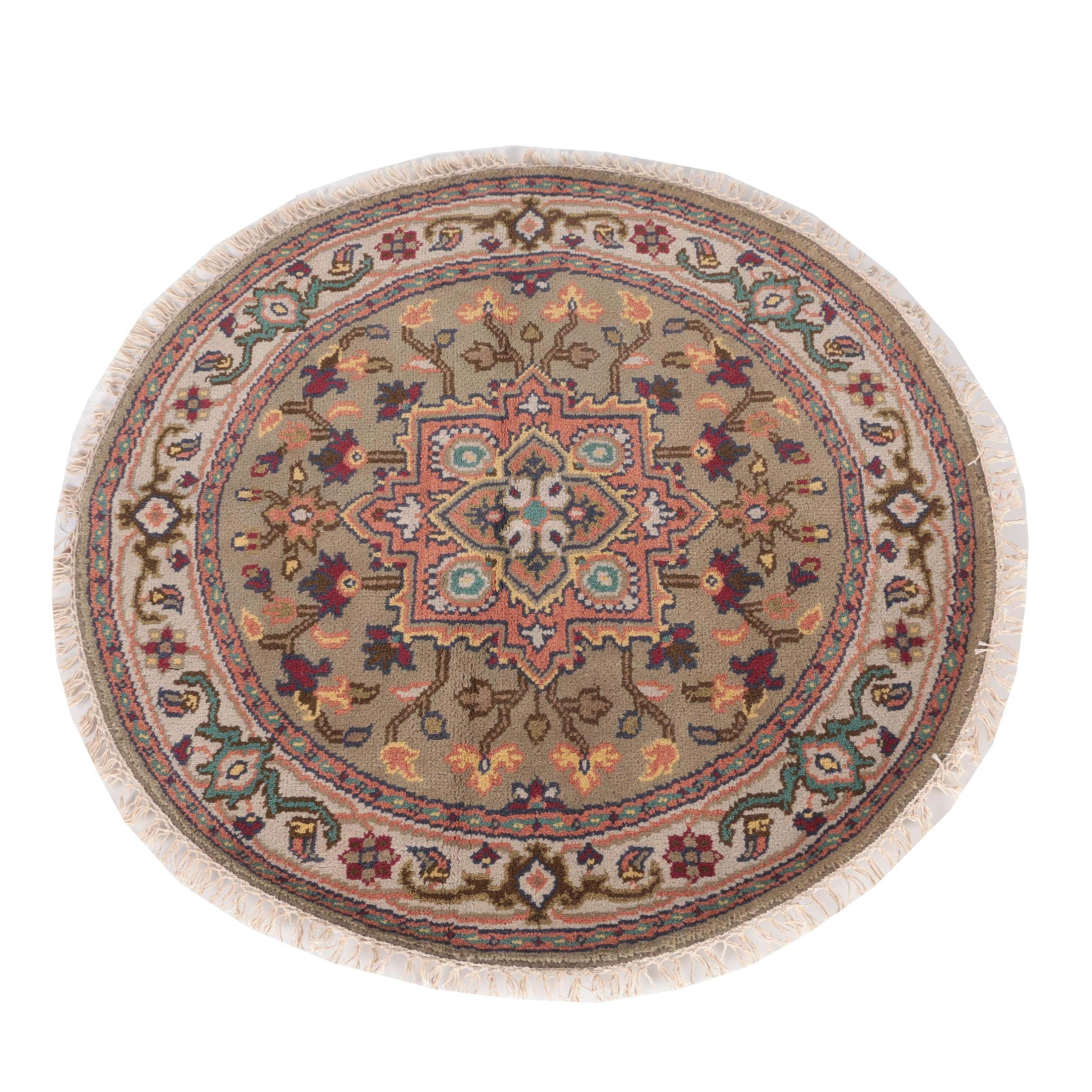 Hand-Knotted Persian Round Accent Rug