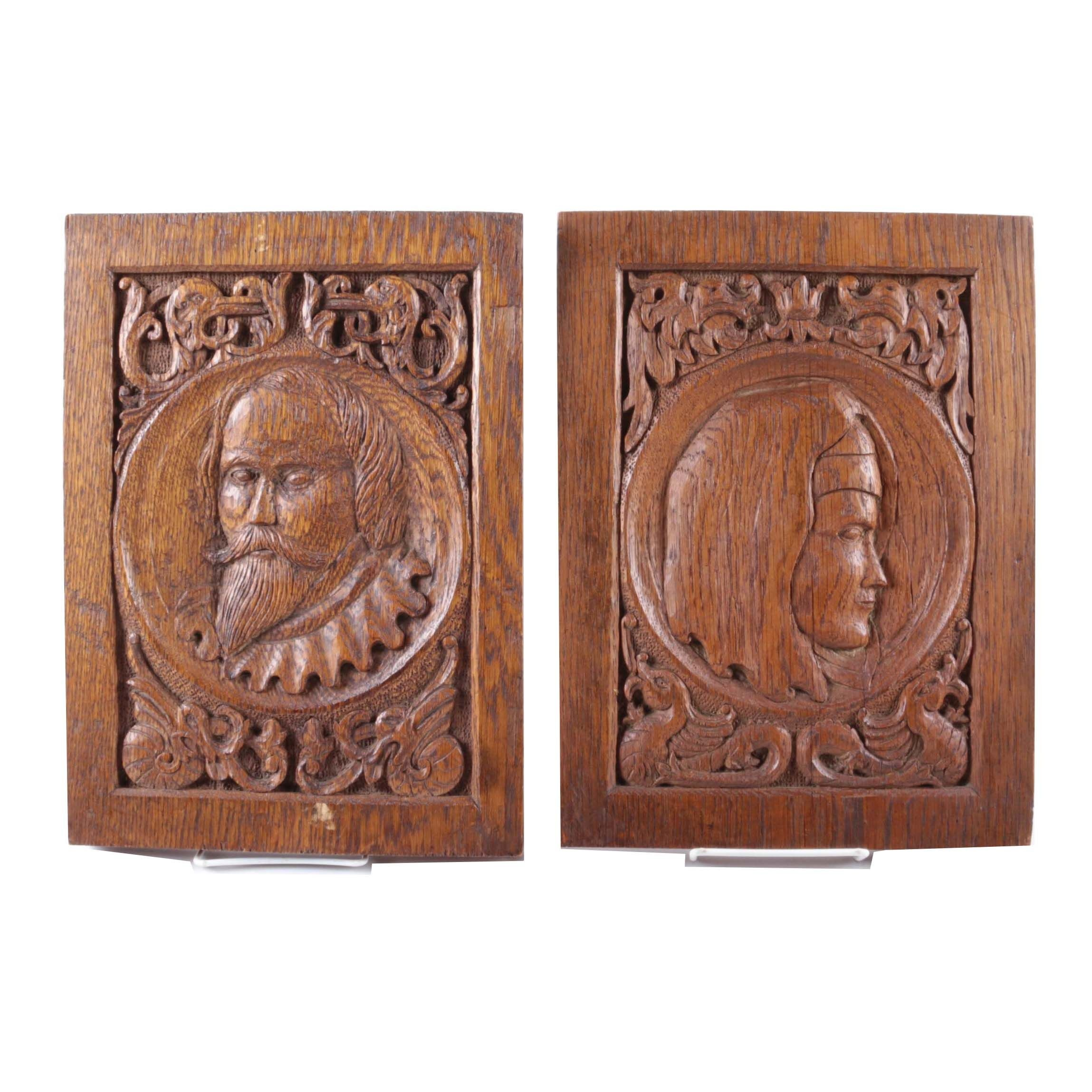 Pair of Carved Wooden Plaques with Relief Portraits of Medieval Figures