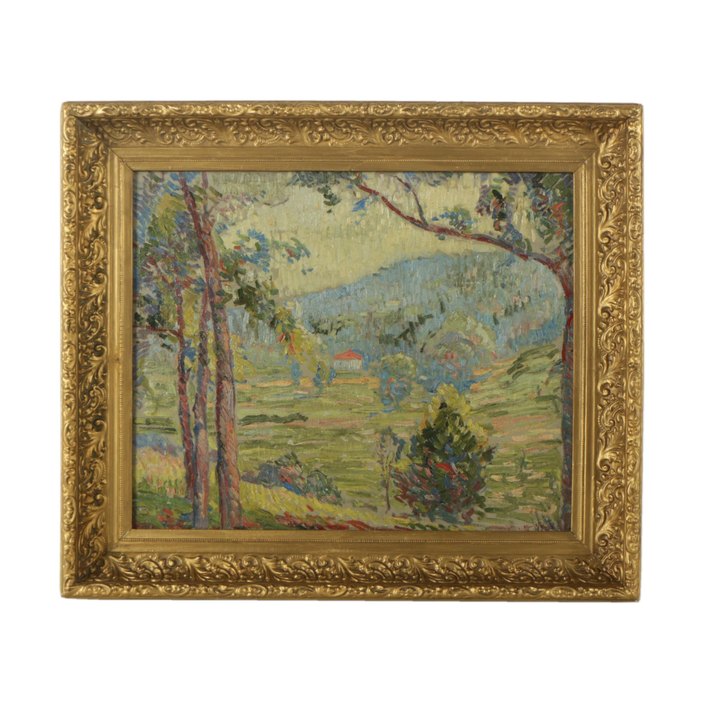 Edgar Nye Oil Painting on Canvas of Pastoral Landscape