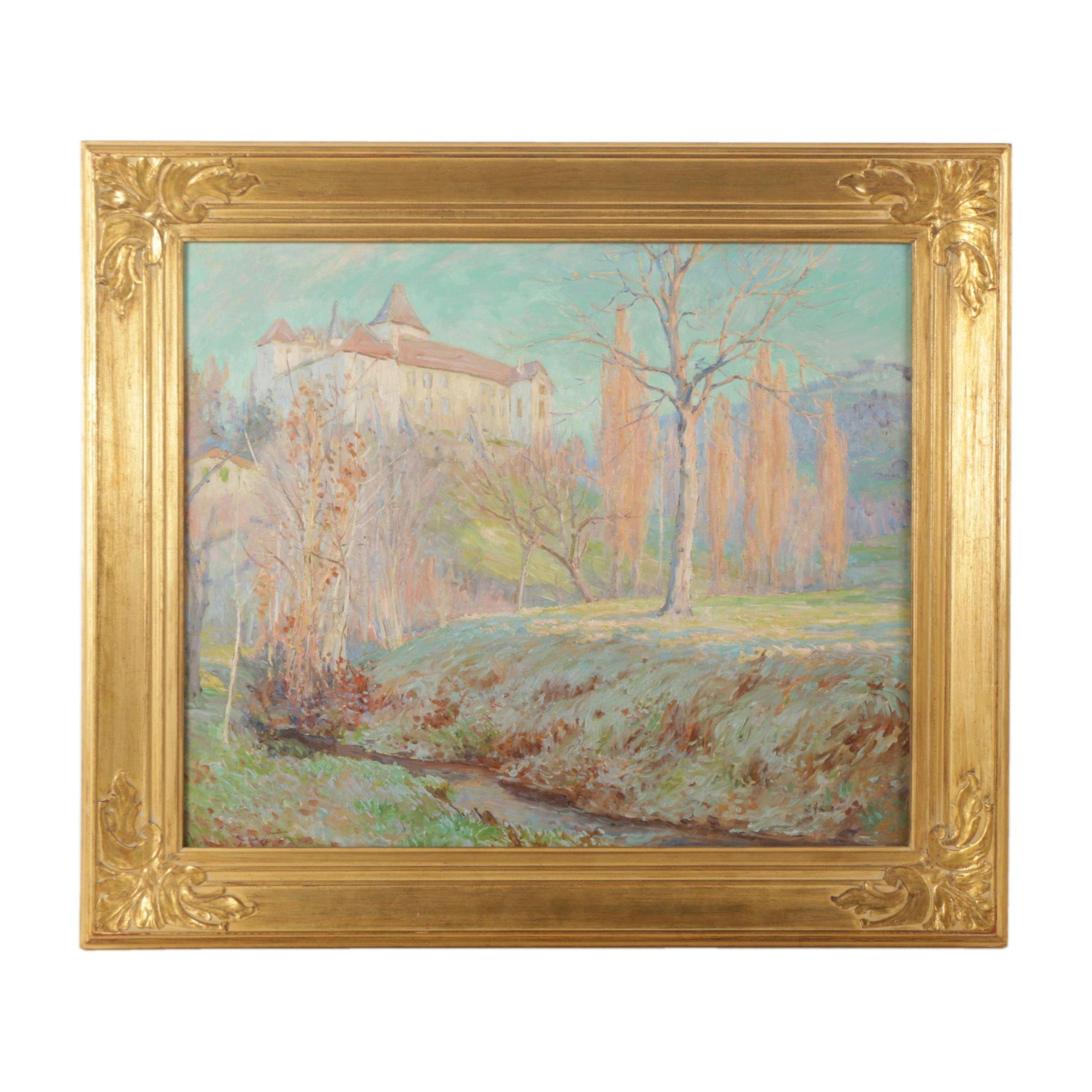 "William Samuel Horton Oil Painting on Board ""Chateau de Blonay"""