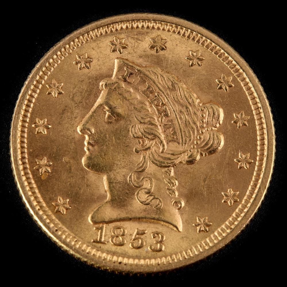 1853 Liberty Head $2.50 Quarter Eagle Gold Coin