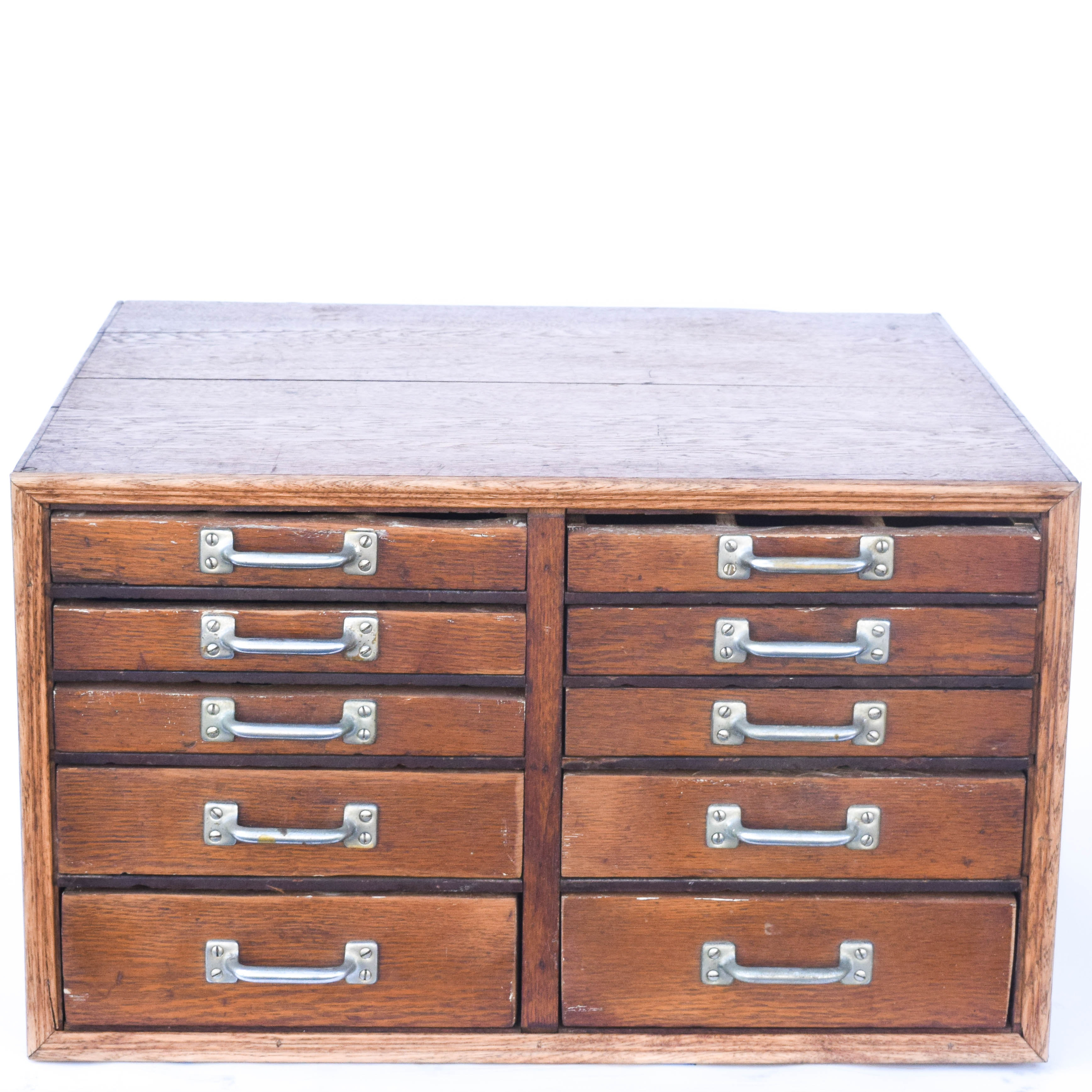 Antique Oak Tool Chest with Ten Drawers