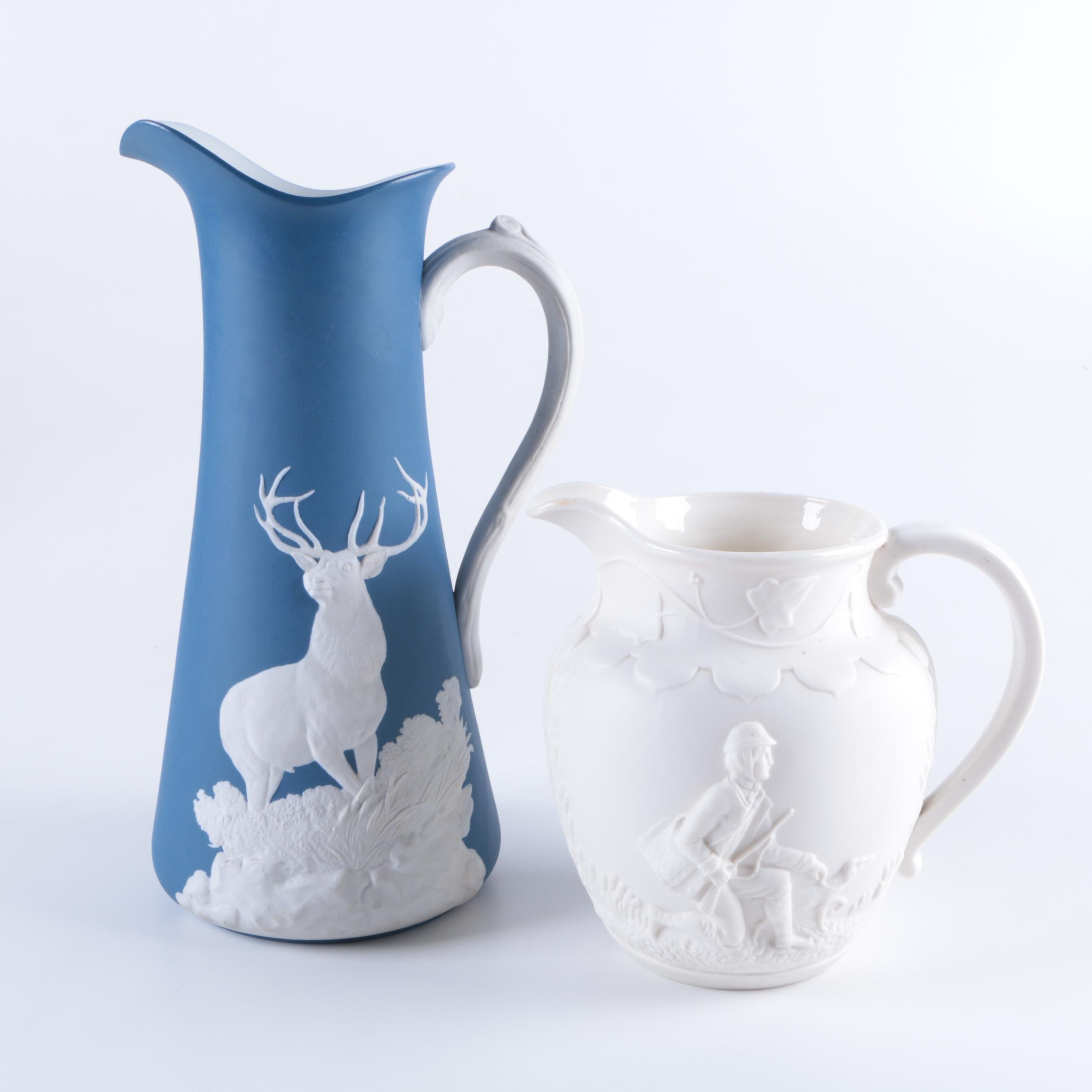 English Porcelain Pitchers in the Style of Wedgwood