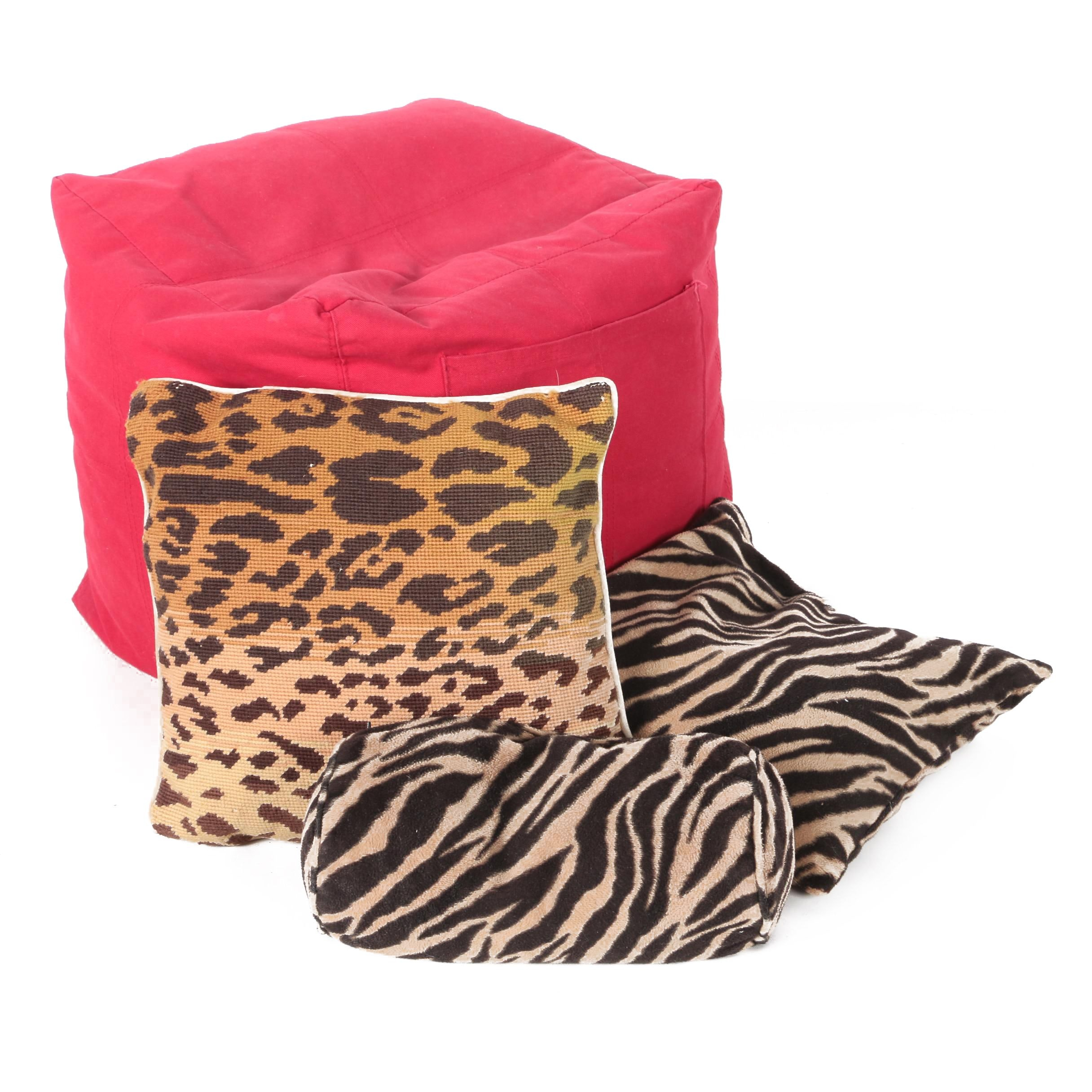Animal Themed Throw Pillows with Pouf