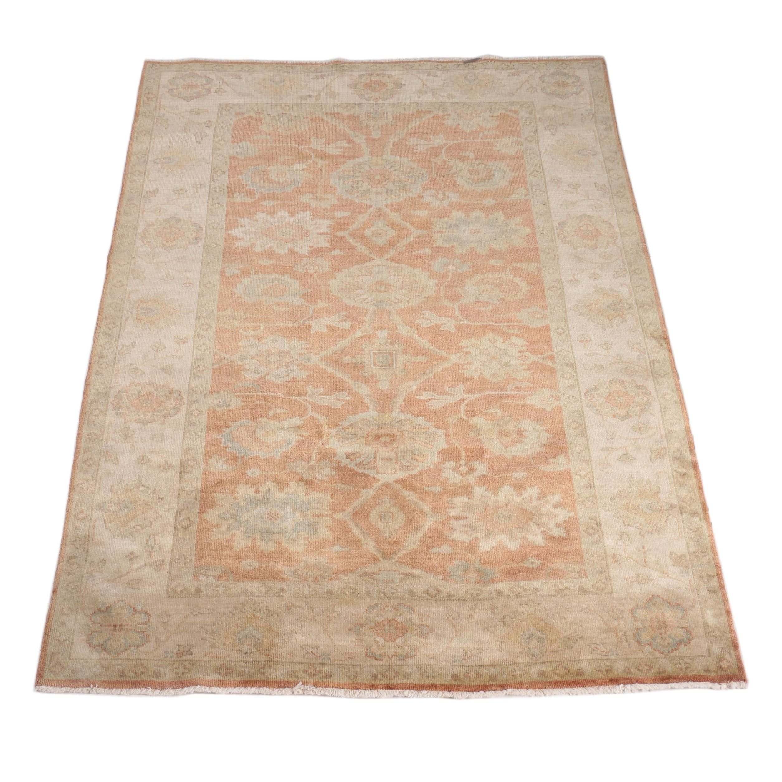 Hand-Knotted Turkish Oushak Wool Area Rug